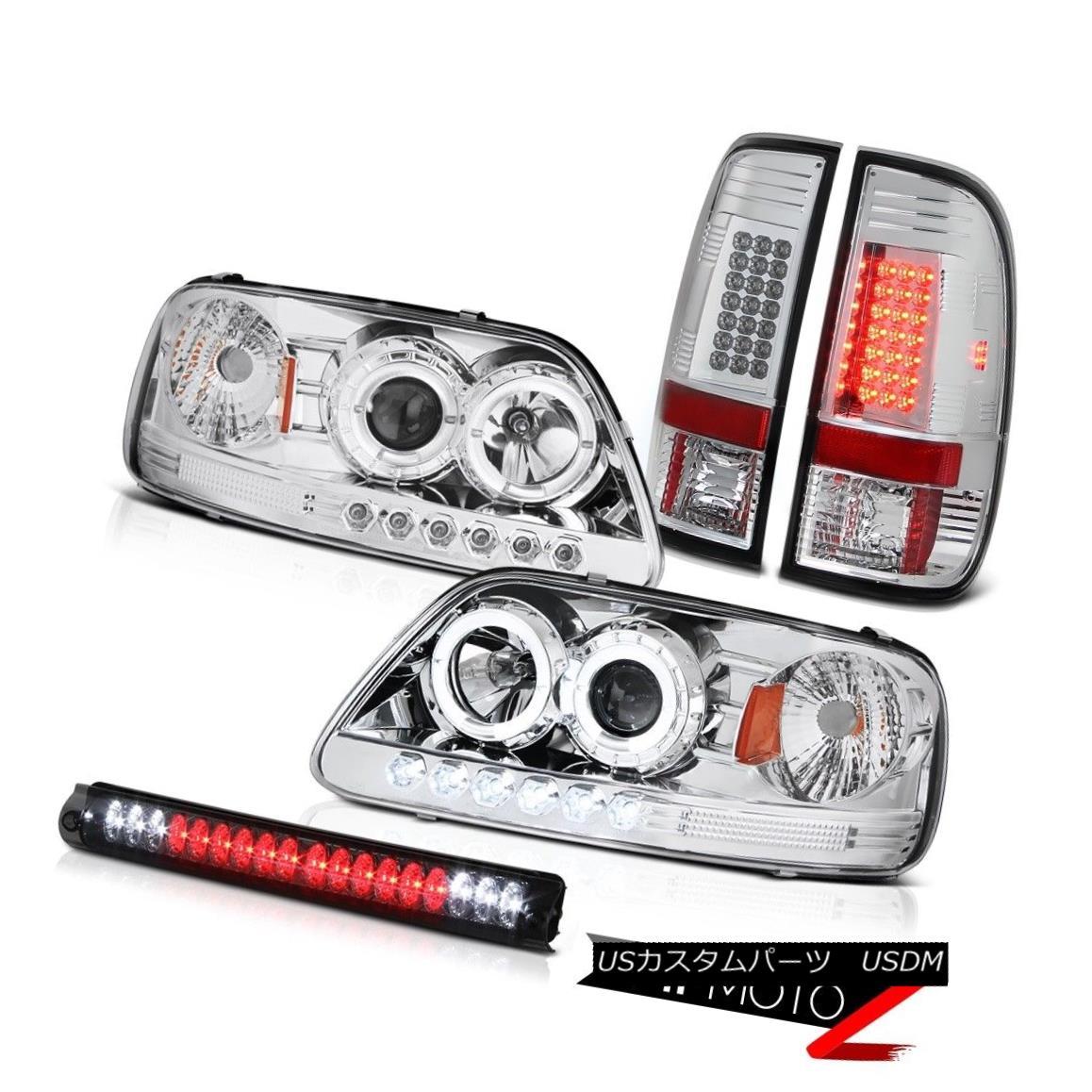 テールライト 1999 2000 2001 F150 5.4L Crystal Halo LED Headlight Clear Tail Lights Brake Lamp 1999 2000 2001 F150 5.4LクリスタルハローLEDヘッドライトクリアテールライトブレーキランプ