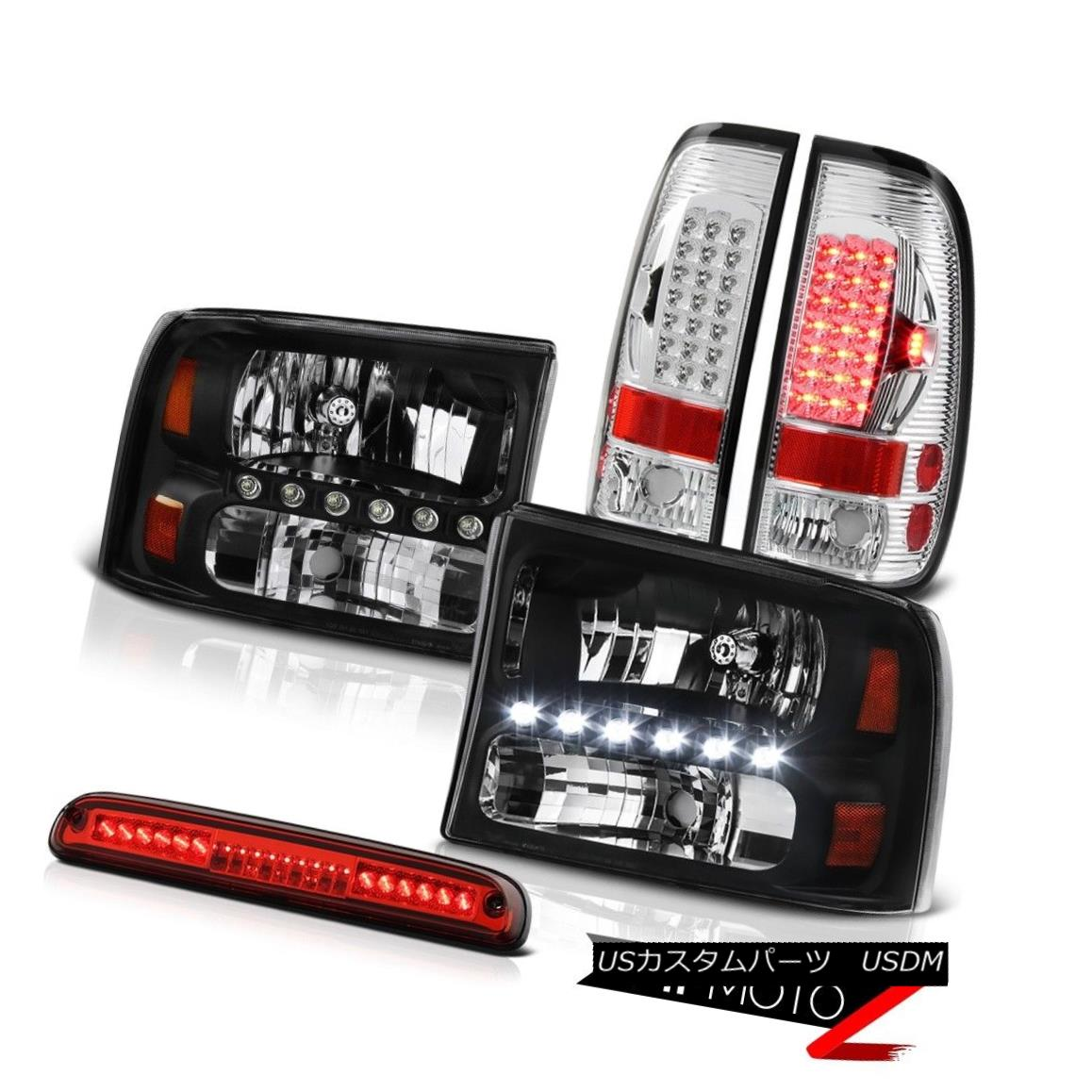 テールライト 1999-2004 F350 XLT Black Headlight Headlamps BRIGHTEST LED TailLight Third Brake 1999-2004 F350 XLTブラックヘッドライトヘッドライトBRIGHTEST LED TailLight Third Brake