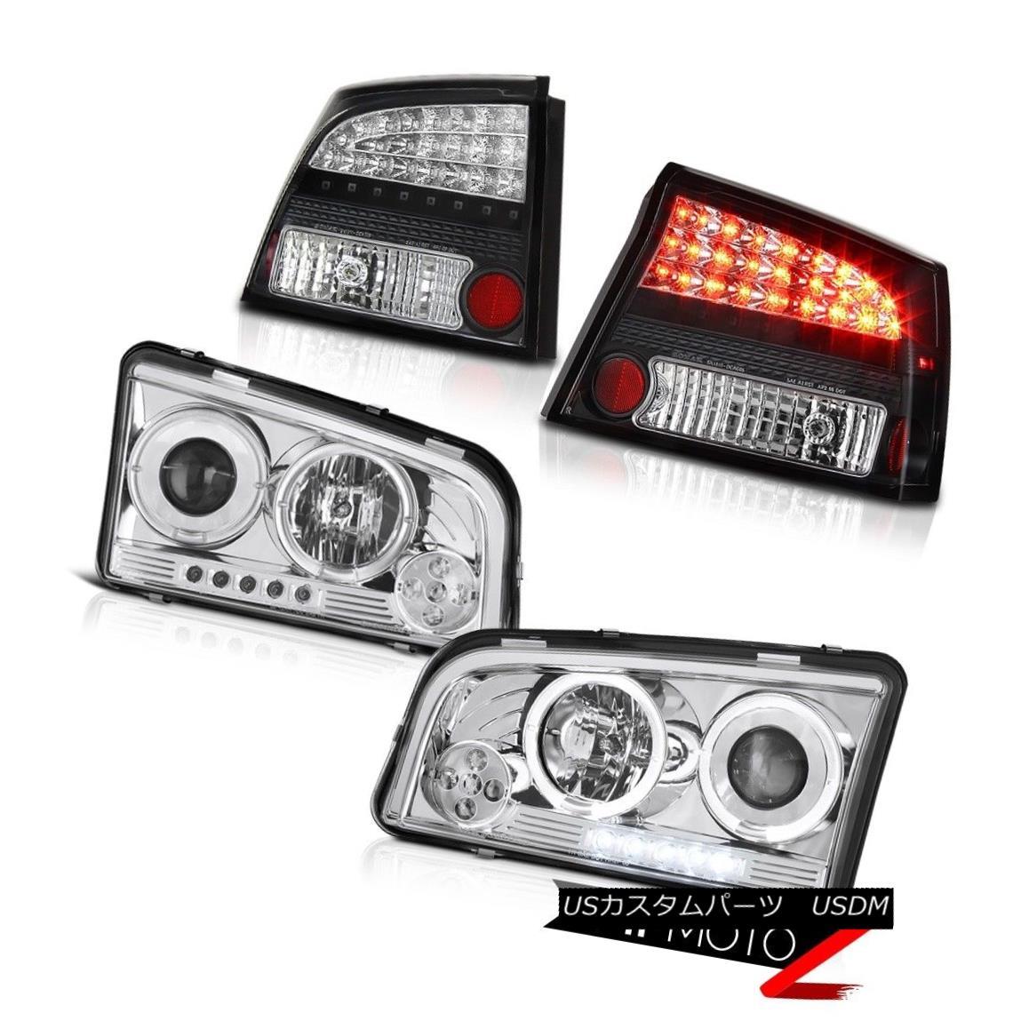 テールライト 09 10 Charger Super Bee Angel Eye Halo Brightest Headlight Black LED Tail Lights 09 10充電器スーパー・ビー・エンジェル・アイヘイロー・ブライト・ヘッドライトブラックLEDテール・ライト