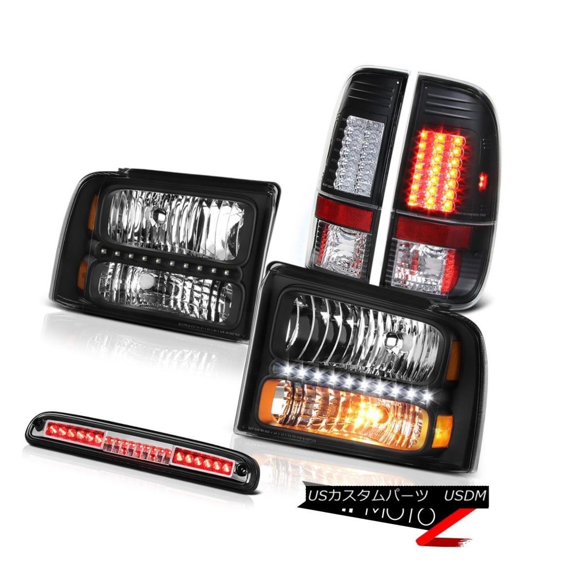 テールライト 2005 2006 2007 F350 XL Inky Black Headlights LED Tail Lights Roof Stop Chrome 2005年2006年2007年F350 XL InkyブラックヘッドライトLEDテールライトルーフストップクローム