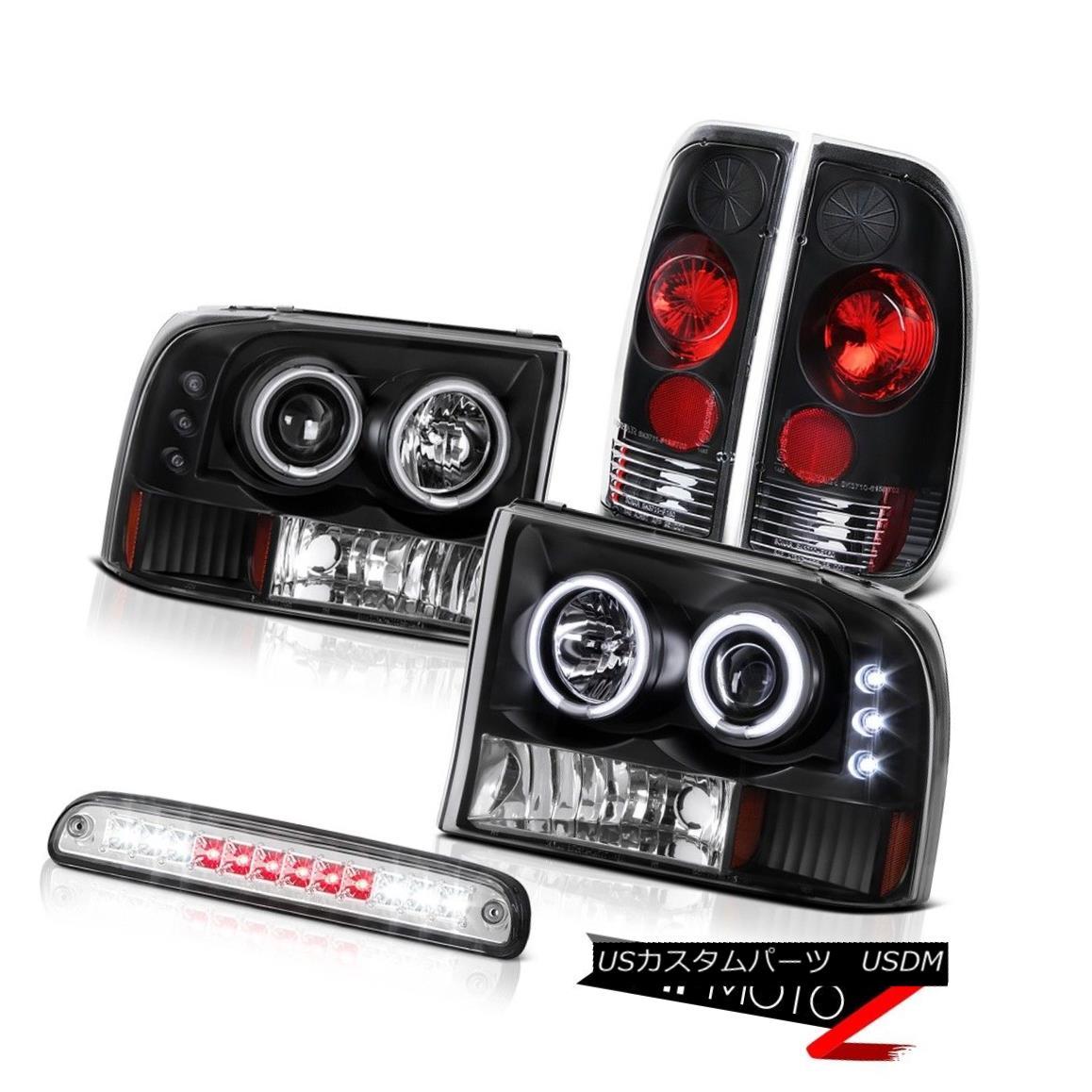 テールライト Angel Eye Projector Headlight High Stop LED Chrome Tail Lamps 99-04 Ford F250 SD エンジェルアイプロジェクターヘッドライトハイストップLEDクロームテールランプ99-04 Ford F250 SD