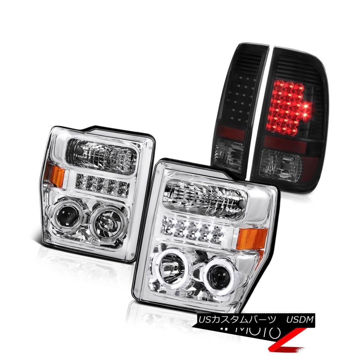 テールライト 2008-2010 Ford F250 F350 Dual Halo Projector Headlights LED Bulbs Taillights Set 2008-2010 Ford F250 F350デュアル・ハロー・プロジェクター・ヘッドライトLED電球曇りセット