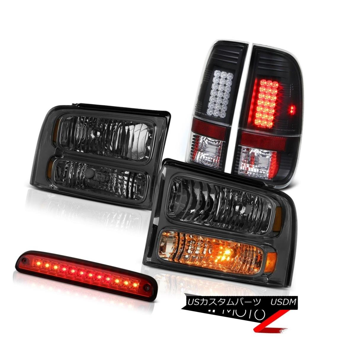 テールライト 2005 2006 2007 F250 5.4L Dark Smoke Headlamps Black LED Tail Lamps High Stop Red 2005 2006 2007 F250 5.4LダークスモークヘッドランプブラックLEDテールランプハイストップレッド
