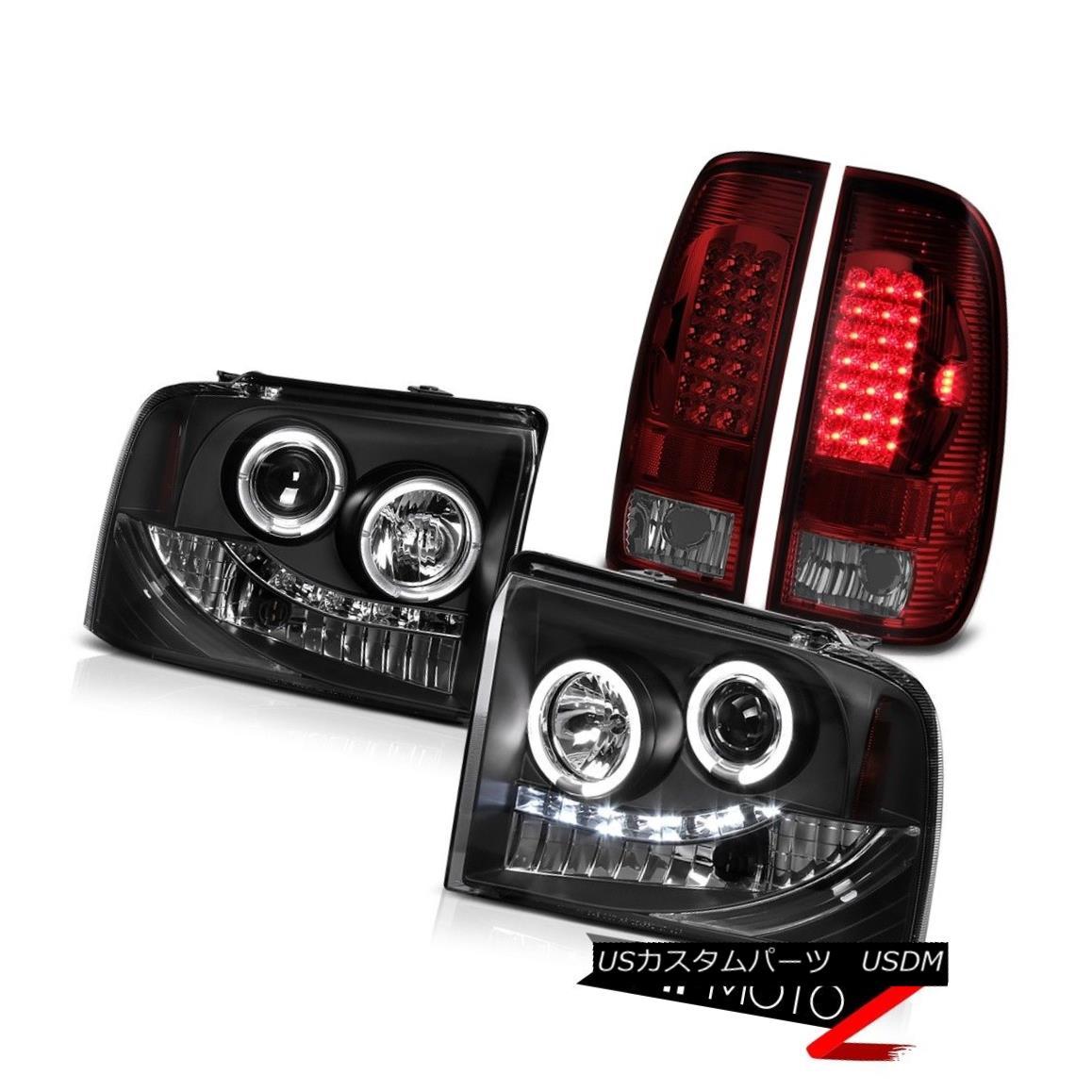 テールライト 2x Angel Eye Headlight LED Rear Brake Lamp Smokey Red Ford F350 V8 V10 XLT 05-07 2xエンジェルアイヘッドライトLEDリアブレーキランプスモーキーレッドフォードF350 V8 V10 XLT 05-07
