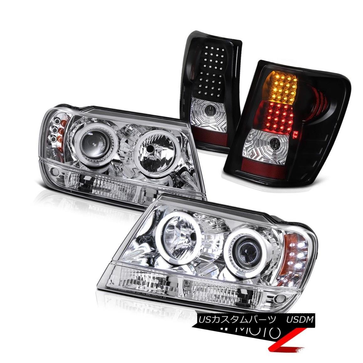テールライト [CHROME CCFL] HALO PROJECTOR HEADLIGHT+BLACK LED TAIL LIGHT GRAND CHEROKEE 99-03 [CHROME CCFL]ハロープロジェクターヘッドライト+ BLAC K LEDテールライトグランチェロキー99-03