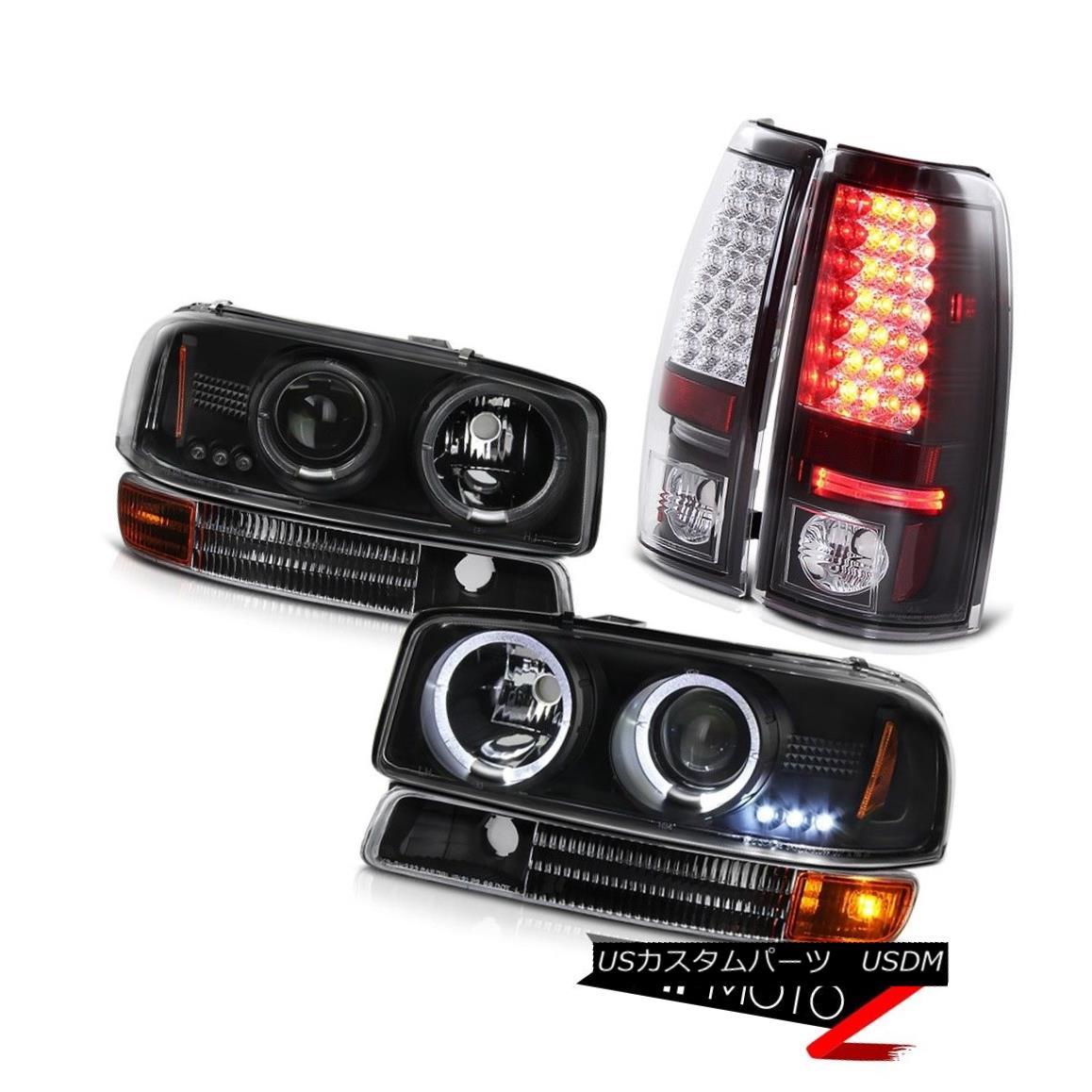テールライト 1999-2003 Sierra 6.0L V8 Angel Eye Projector Headlight Black Bumper LED Taillamp 1999-2003 Sierra 6.0L V8エンジェルアイプロジェクターヘッドライトブラックバンパーLEDタイルランプ