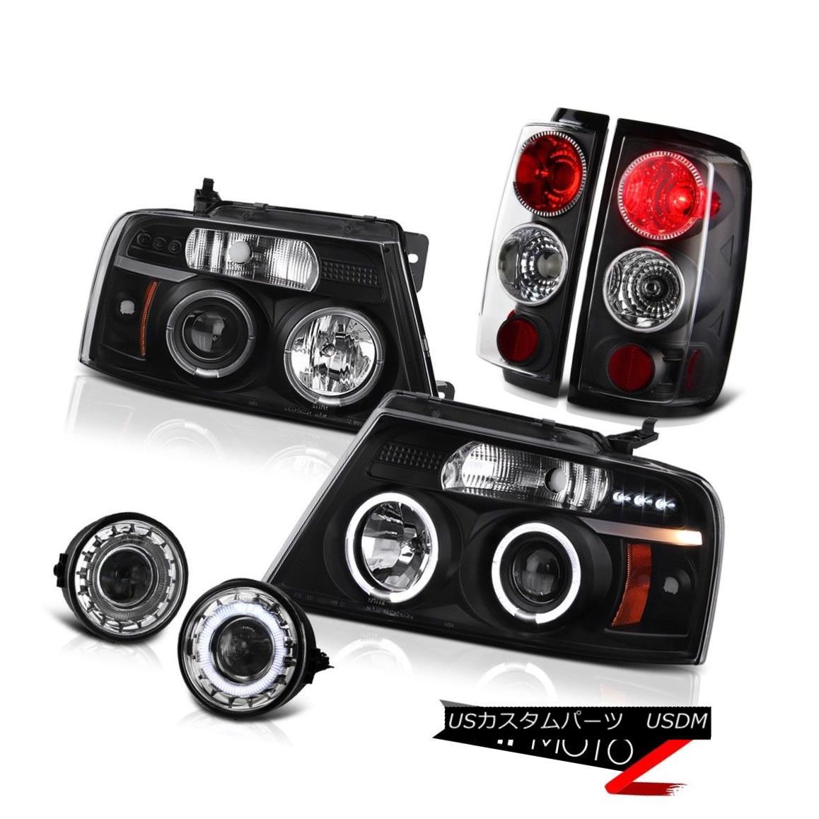 テールライト 2006-2008 FORD F150 Black Dual Angel Eye Headlight Tail Lamp Projector Fog Lamps 2006-2008フォードF150ブラックデュアルエンジェルアイヘッドライトテールランププロジェクターフォグランプ