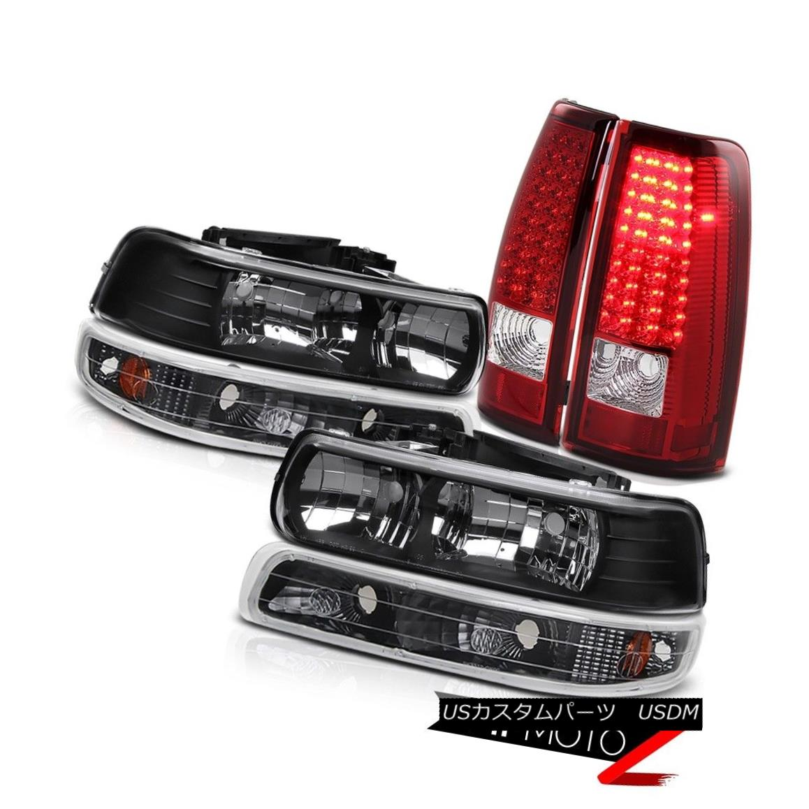 テールライト Chevy Silverado 99-02 1500/2500 Black Headlight+Bumper+RED/CLEAR LED Tail Light Chevy Silverado 99-02 1500/2500ブラックヘッドライト+バンプ er + RED / CLEAR LEDテールライト