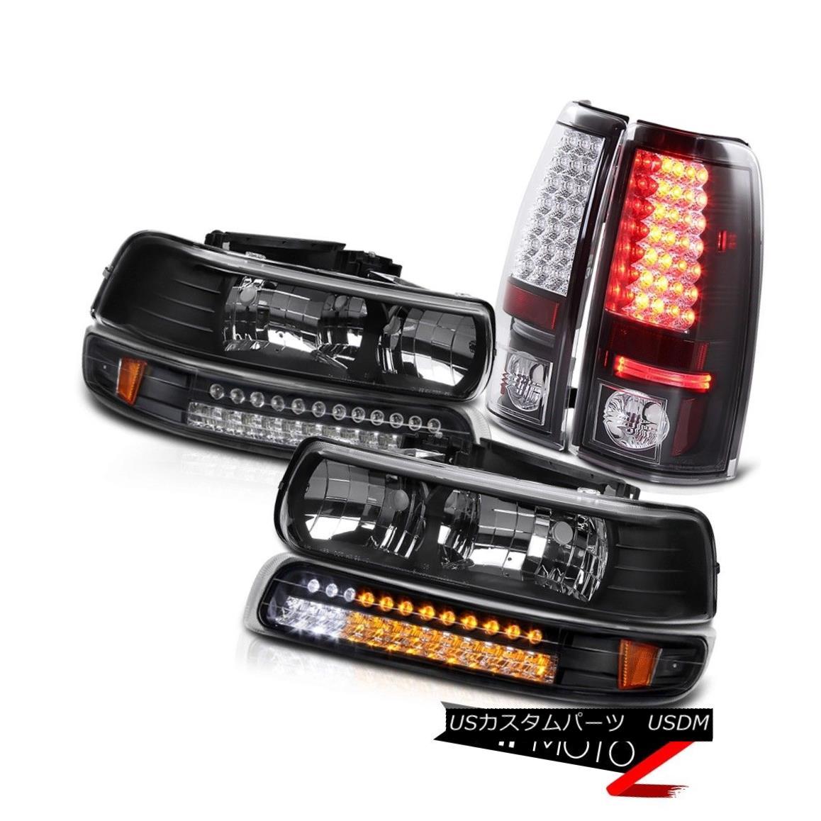 テールライト 99-02 Chevy Silverado BLACK LED Brake Taillamp DRL Signal Bumper Head Light Lamp 99-02シボレーシルバラードBLACK LEDブレーキテールランプDRL信号バンパーヘッドライトランプ