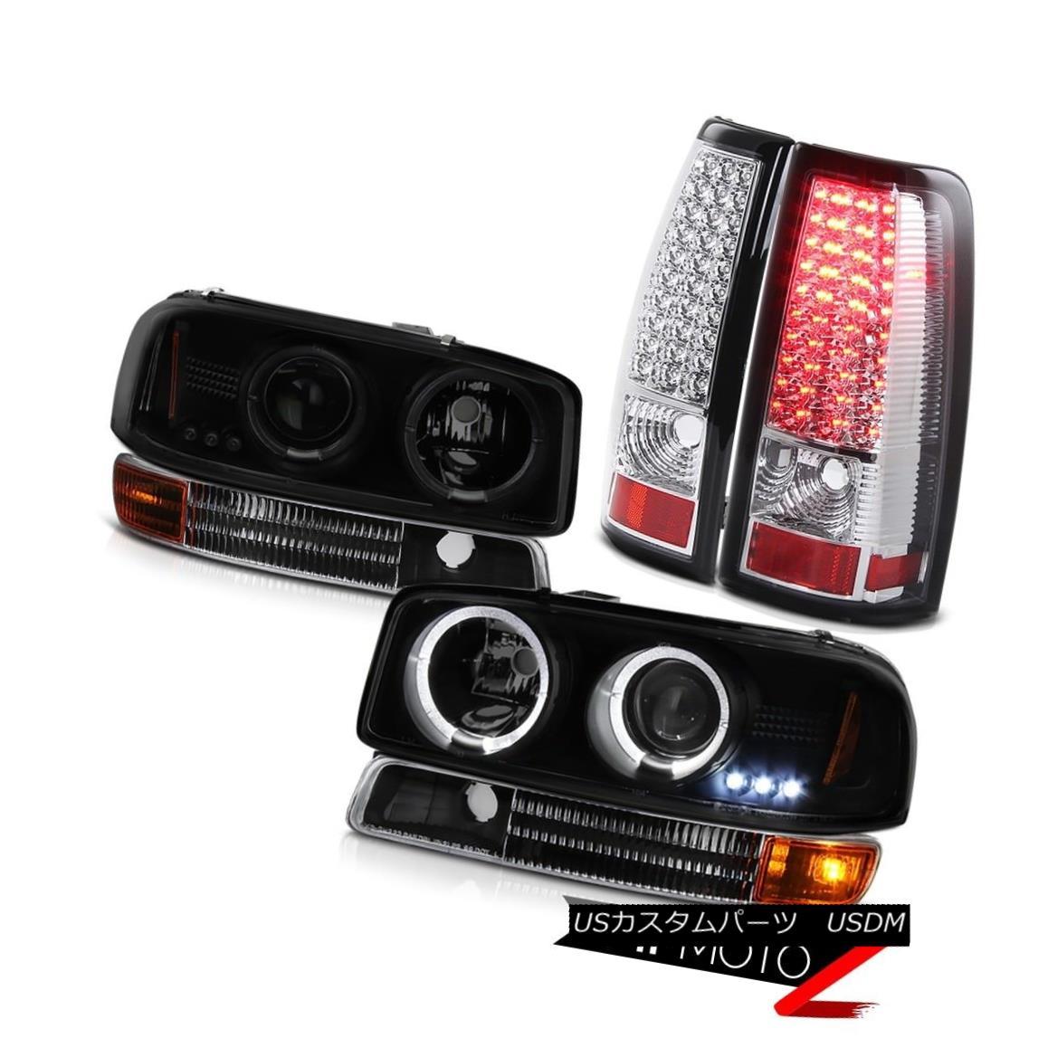テールライト 04 05 06 GMC Sierra Black Smoke Halo Headlights Matte Signal SMD Rear Tail Light 04 05 06 GMC Sierra BlackスモークヘイローヘッドライトマットシグナルSMDリアテールライト