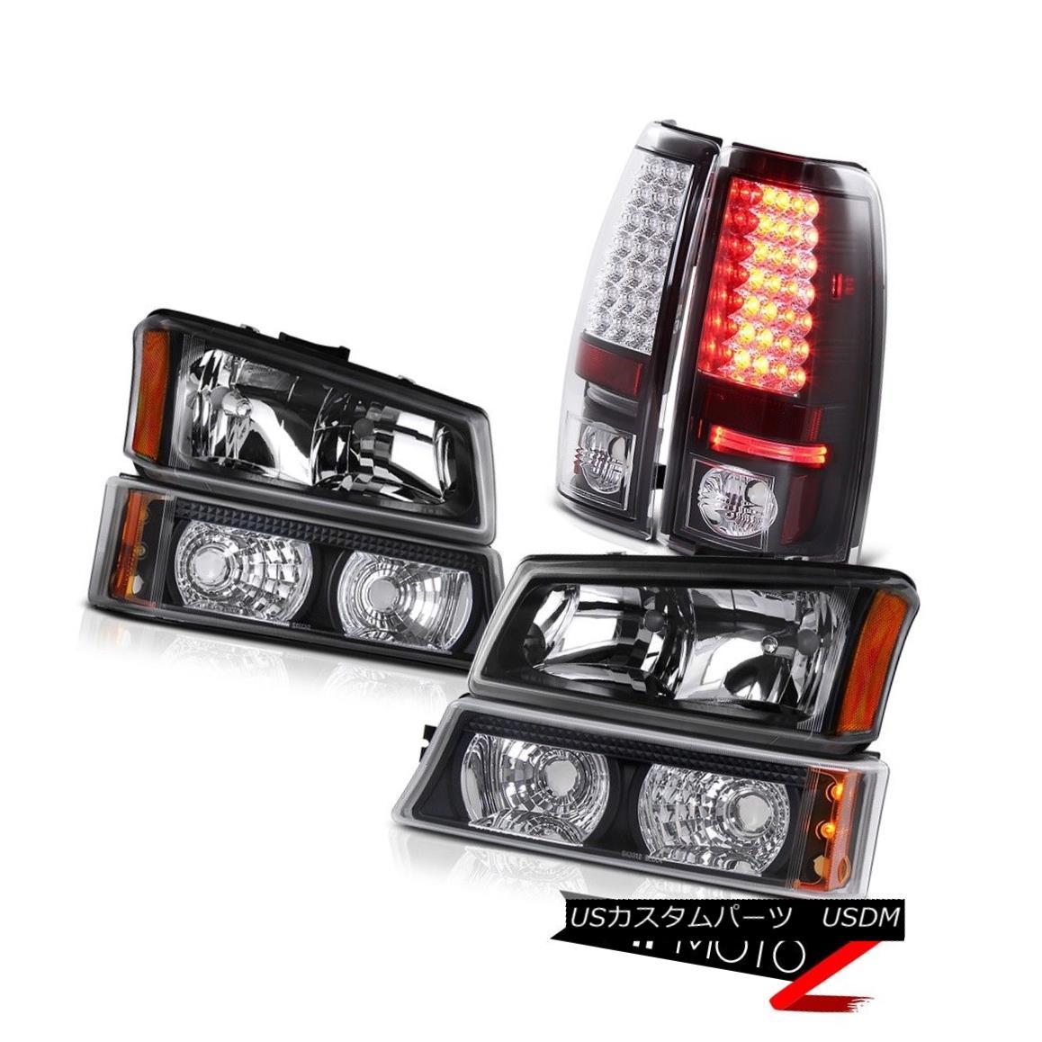 テールライト Black Headlight Parking Signal Bumper Brake LED Tail Lights 05 06 Silverado 1500 ブラックヘッドライトパーキング信号バンパーブレーキLEDテールライト05 06 Silverado 1500
