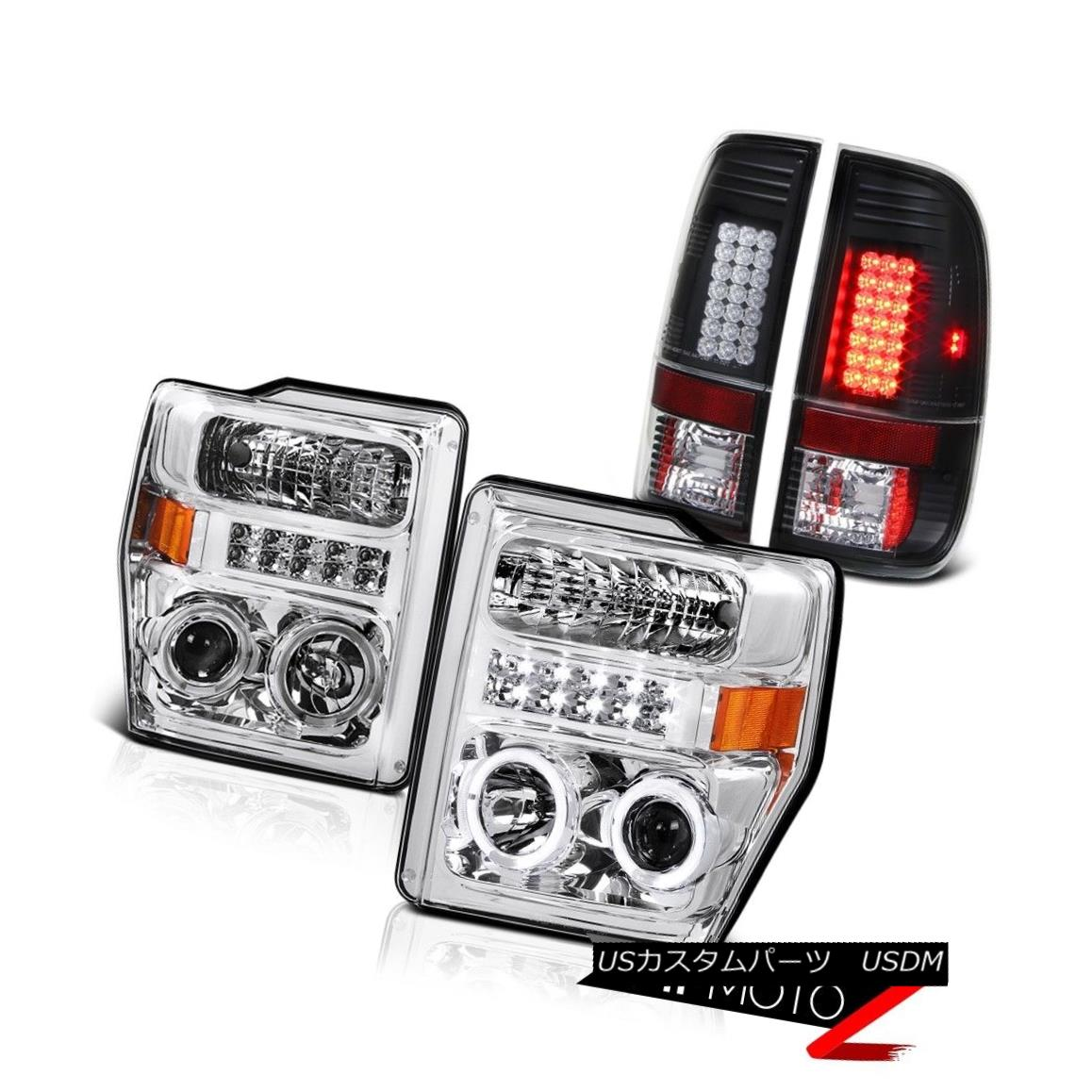 テールライト 08 09 10 Ford Superduty 5.4L XL Euro Halo LED Headlight Signal Brake Tail Lights 08 09 10フォードSuperduty 5.4L XLユーロHalo LEDヘッドライト信号ブレーキテールライト