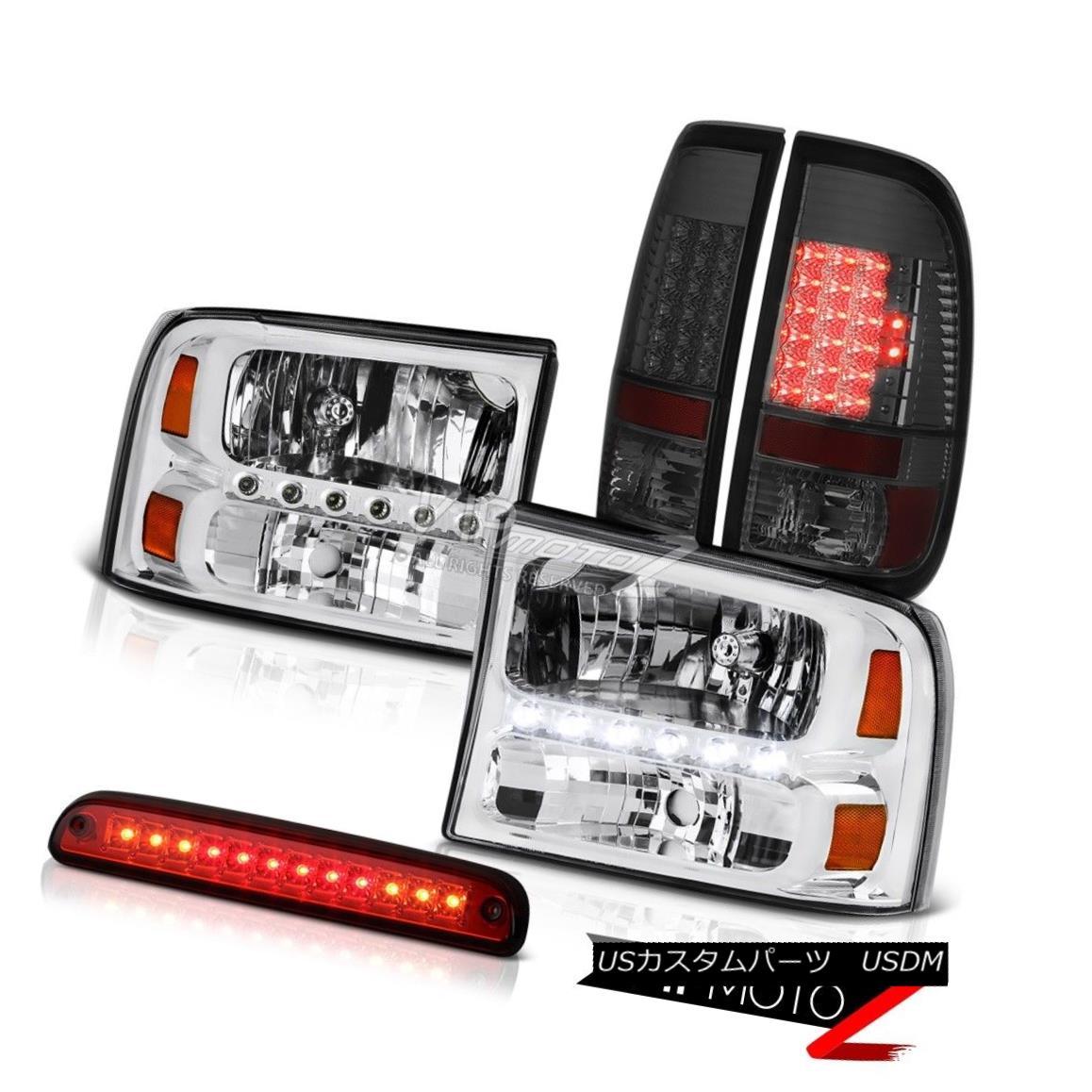 テールライト 1999-2004 Ford F350 Pair Chrome Headlights Smoke Tail Lights LED High Stop Red 1999-2004フォードF350ペアクロームヘッドライトスモークテールライトLEDハイストップレッド