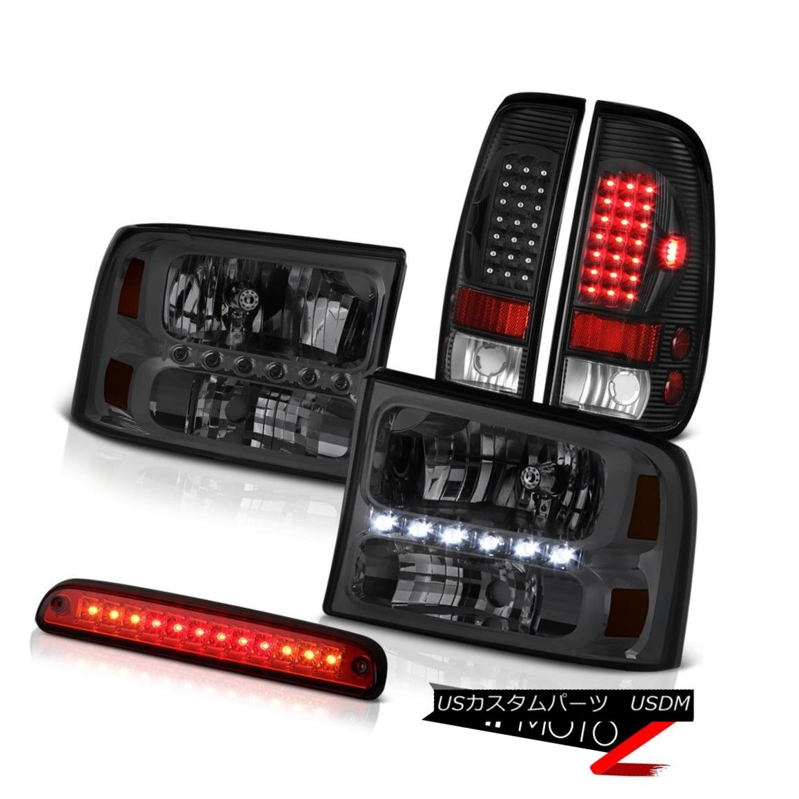 テールライト Crystal Headlights Third Brake Red LED Black Tail Lights 1999-2004 Ford F350 クリスタルヘッドライト第3ブレーキ赤LEDブラックテールライト1999-2004 Ford F350