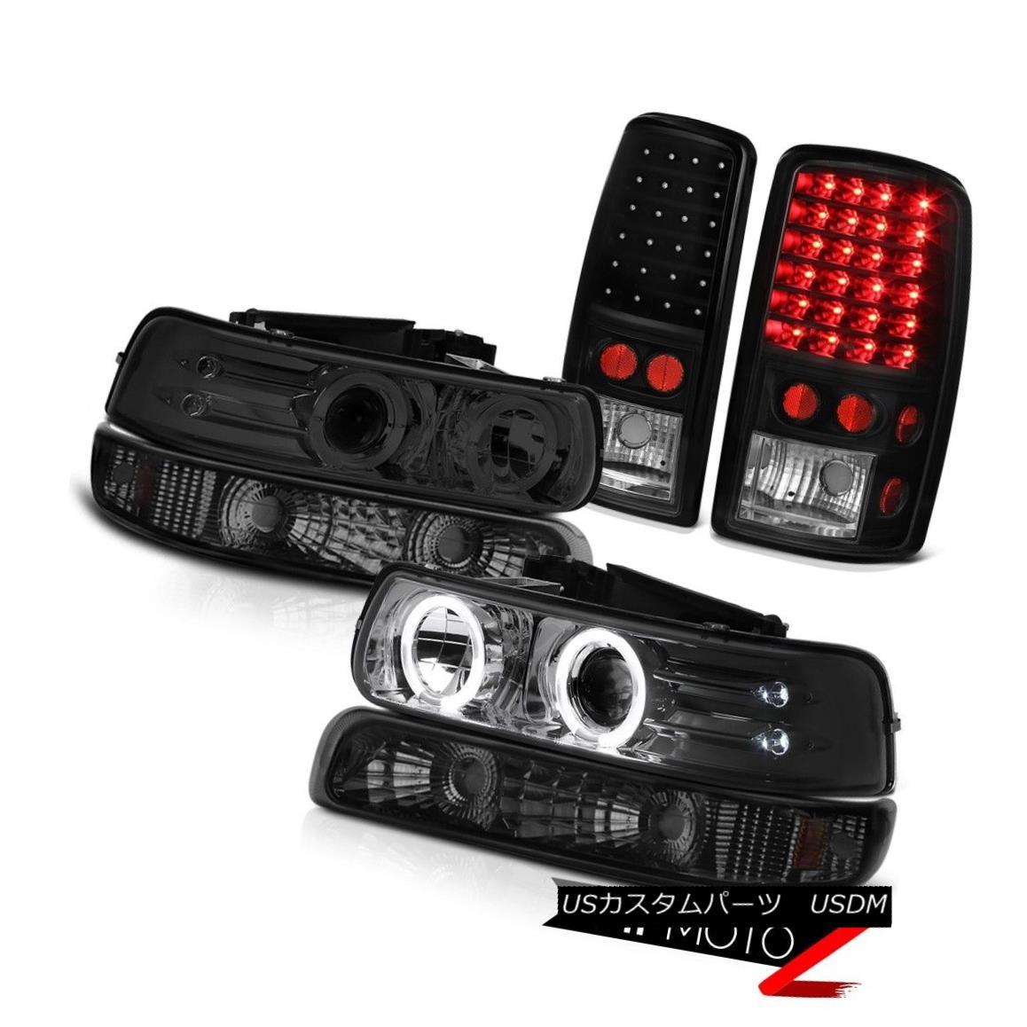 テールライト 00 01 02 03 04 05 06 Chevy Suburban 2x Halo LED Headlamps Smoke Tail Lights 00 01 02 03 04 05 06シボレー郊外2x Halo LEDヘッドランプ煙テールライト