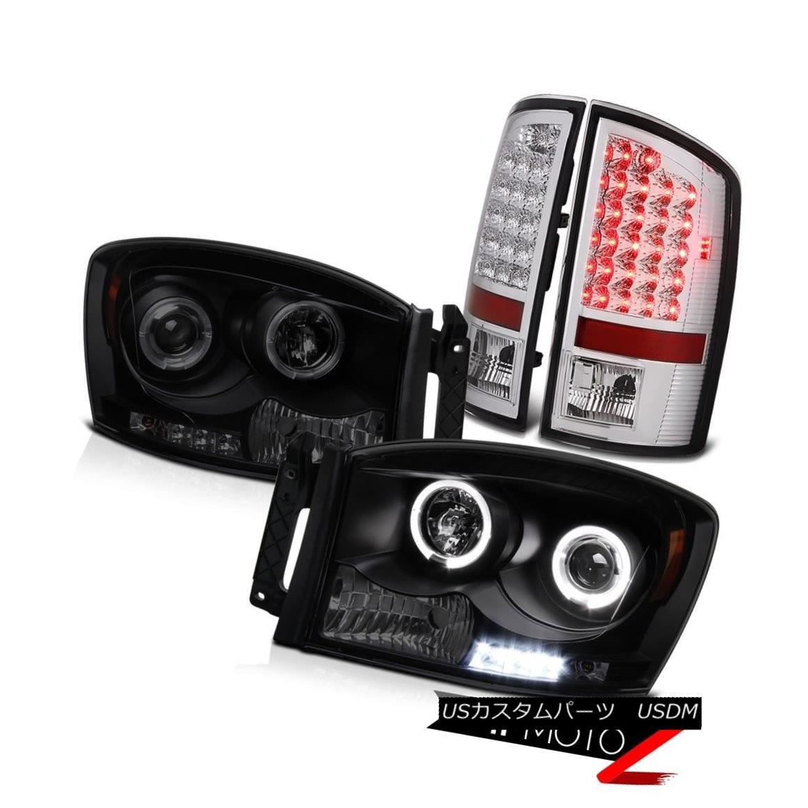 テールライト Dual Halo LED Headlight Tail Lights Dodge Ram 1500 2500 Hemi 5.7L WS 2007 2008 デュアルHalo LEDヘッドライトテールライトダッジラム1500 2500 Hemi 5.7L WS 2007 2008