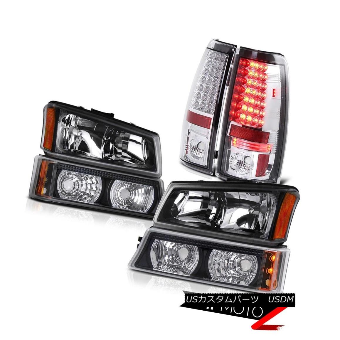 テールライト Black Headlight Crystal Bumper Lamp LED Bulb Tail 2003-2006 Silverado Vortec Max ブラックヘッドライトクリスタルバンパーランプLED電球テール2003-2006シルバラードボルテックマックス