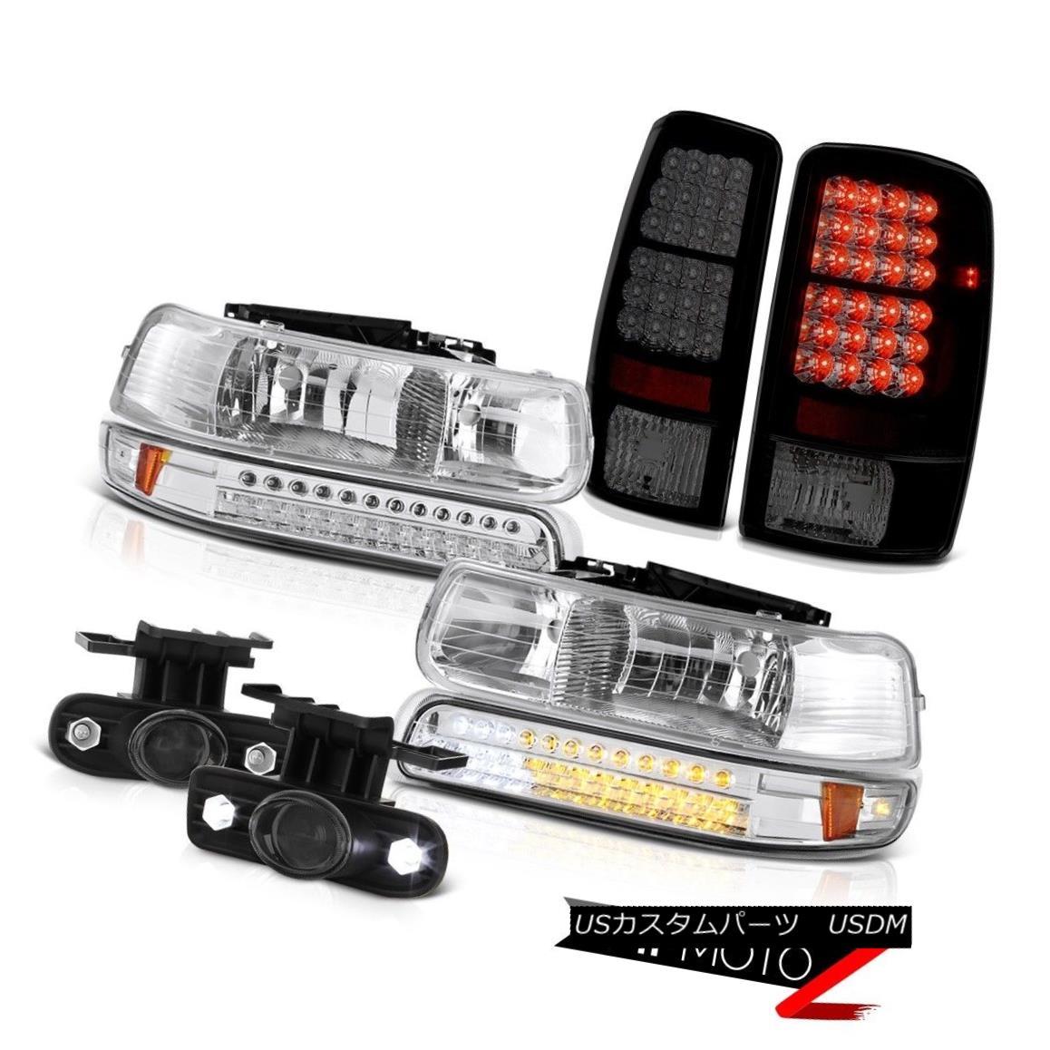 テールライト Euro LED Chrome Headlight L.E.D 00-06 Tahoe 5.3L Tail Lights Projector Smoke Fog ユーロLEDクロームヘッドライトL.E.D 00-06タホー5.3Lテールライトプロジェクタースモークフォグ