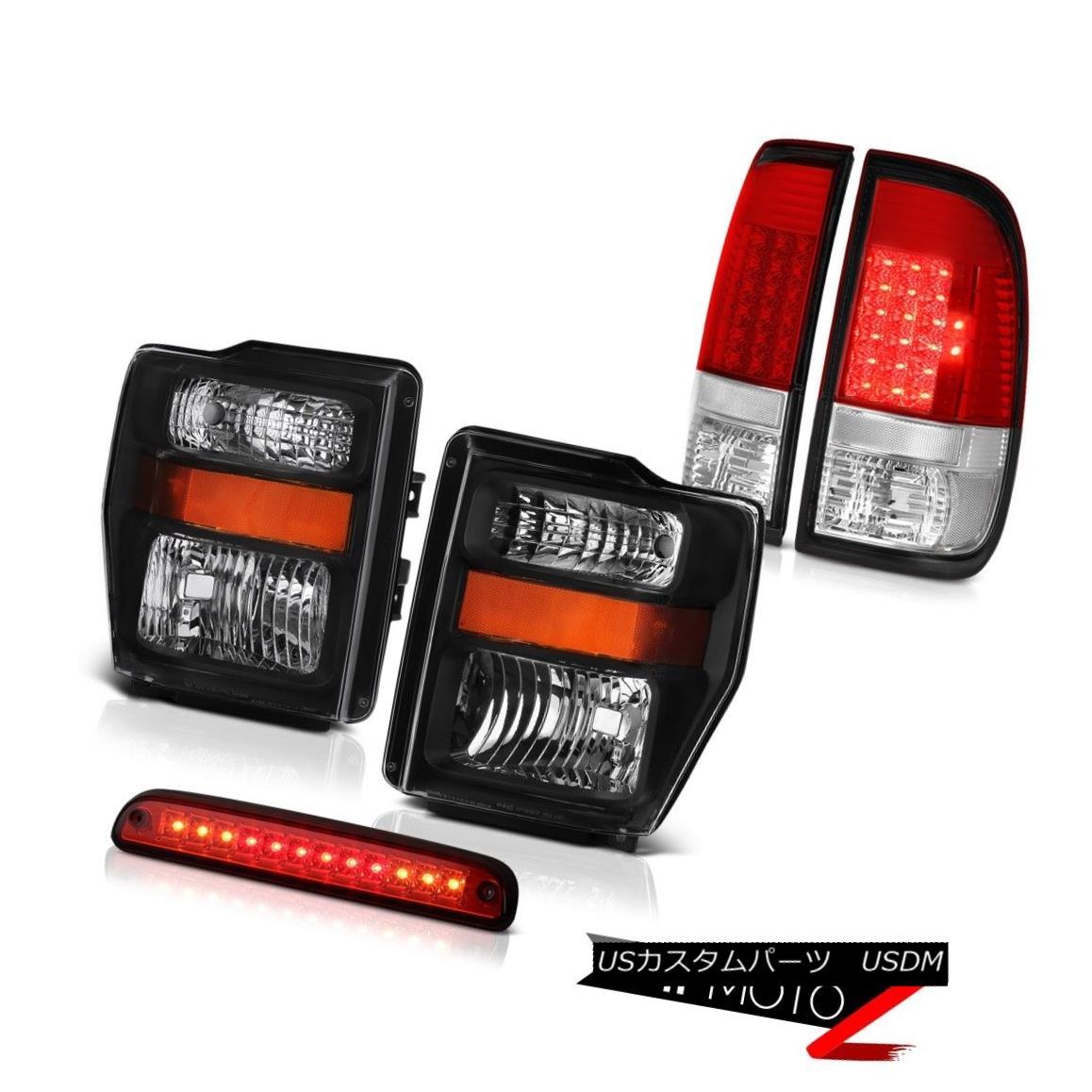 テールライト 2008-2010 F250 Turbo Diesel Amber Black Headlights LED Brake Tail Lights High 2008-2010 F250ターボディーゼル琥珀ブラックヘッドライトLEDブレーキテールライト高