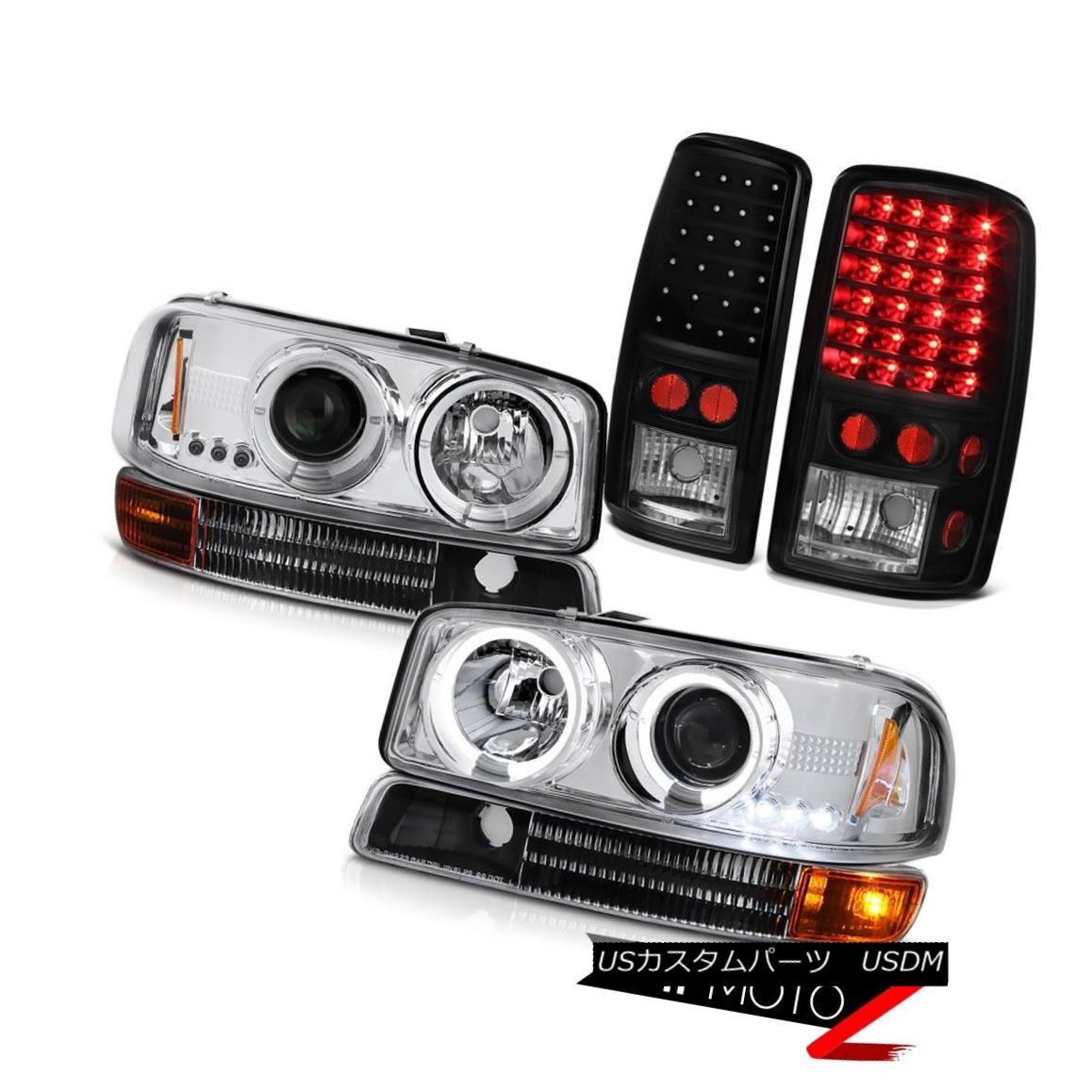 テールライト 2000 01 02 03 04 05 06 Yukon Halo LED Headlights Bumper Signal Matte Tail Lights 2000 01 02 03 04 05 06 Yukon Halo LEDヘッドライトバンパー信号マットテールライト