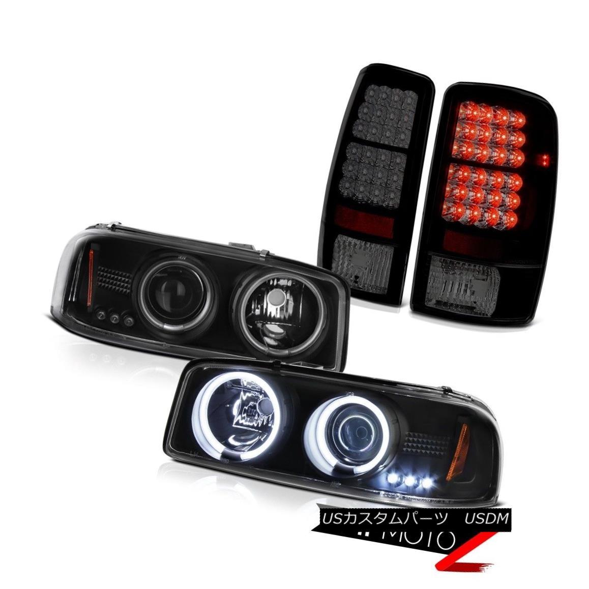 テールライト BRIGHTEST CCFL Angel Eye Headlights 00-06 Yukon Dark Smoke Black LED Tail Lights 明るいCCFLエンジェルアイヘッドライト00-06ユーコンダークスモークブラックLEDテールライト
