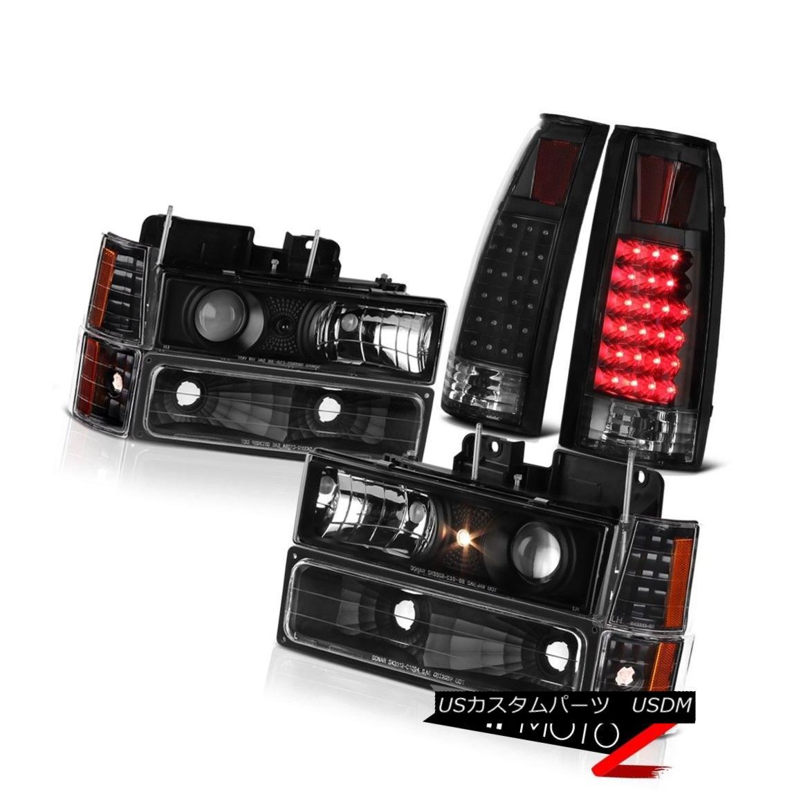 テールライト Black S.M.D Brake Tail Lamps+Headlights+Bumper 94-98 GMC Sierra K1500 k2500 ブラックA.N.Dブレーキテールランプ+ヘッドライト ts +バンパー94-98 GMC Sierra K1500 k2500