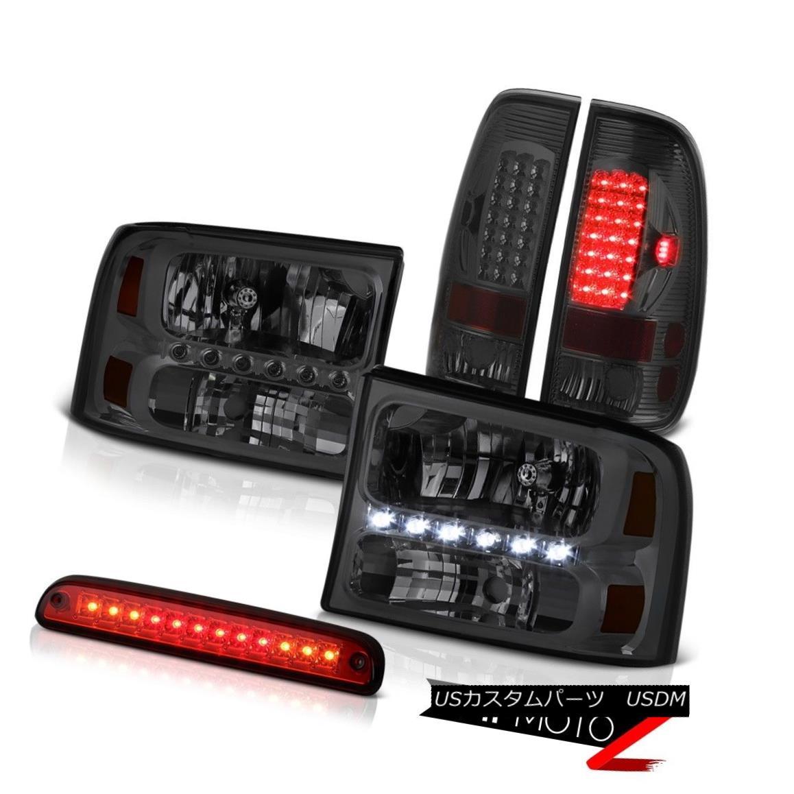 テールライト Dark Smoke Headlamps 3rd Brake Red LED Smoked Taillamp 99-04 F250 King Ranch ダーク・スモーク・ヘッドランプ第3ブレーキ・レッドLEDスモーク・タイランプ99-04 F250キング・ランチ