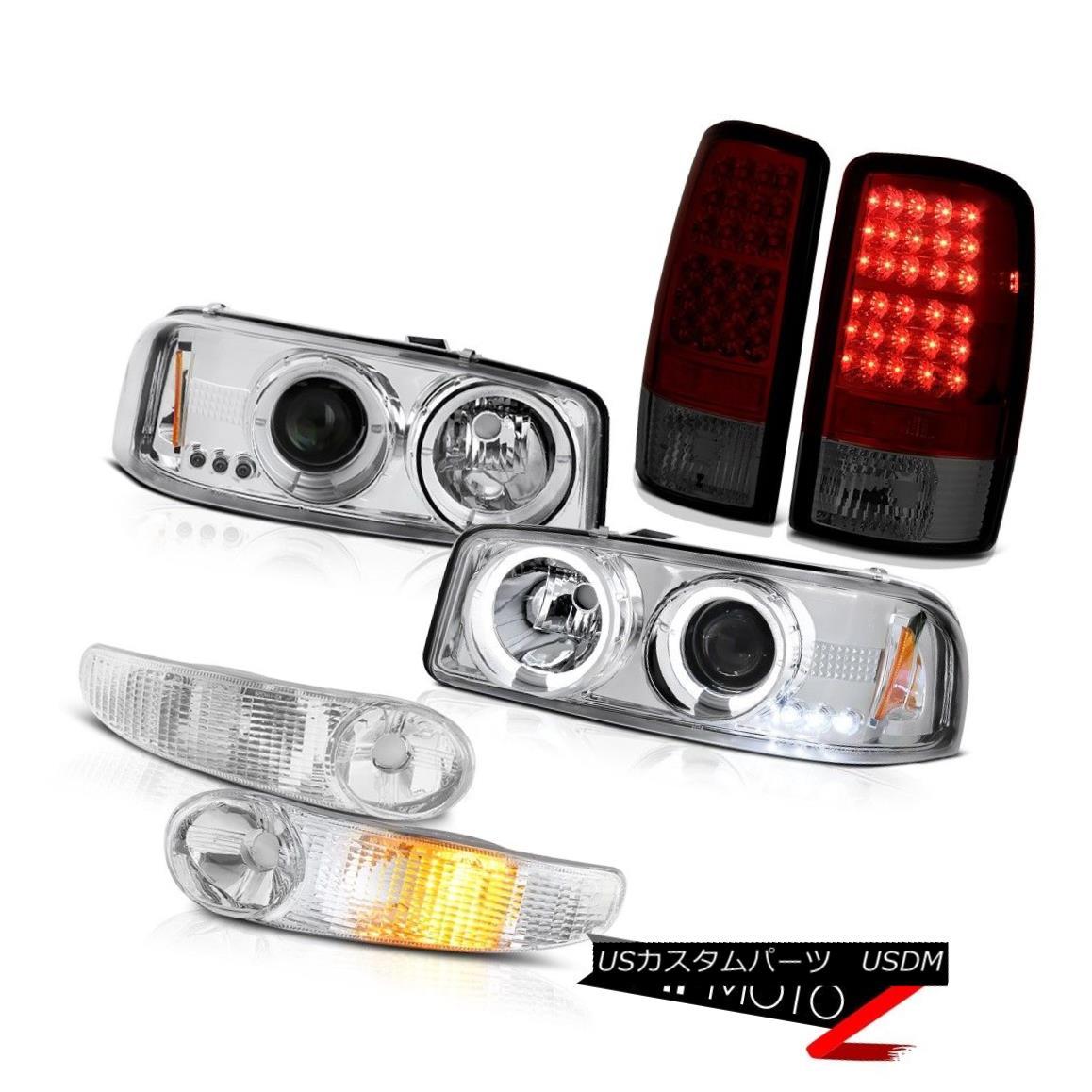 テールライト 00-06 Yukon Chrome Halo LED Bulbs Headlights Euro Signal Bumper Red Tail Lights 00-06ユーコンクロームハローLED電球ヘッドライトユーロ信号バンパーレッドテールライト