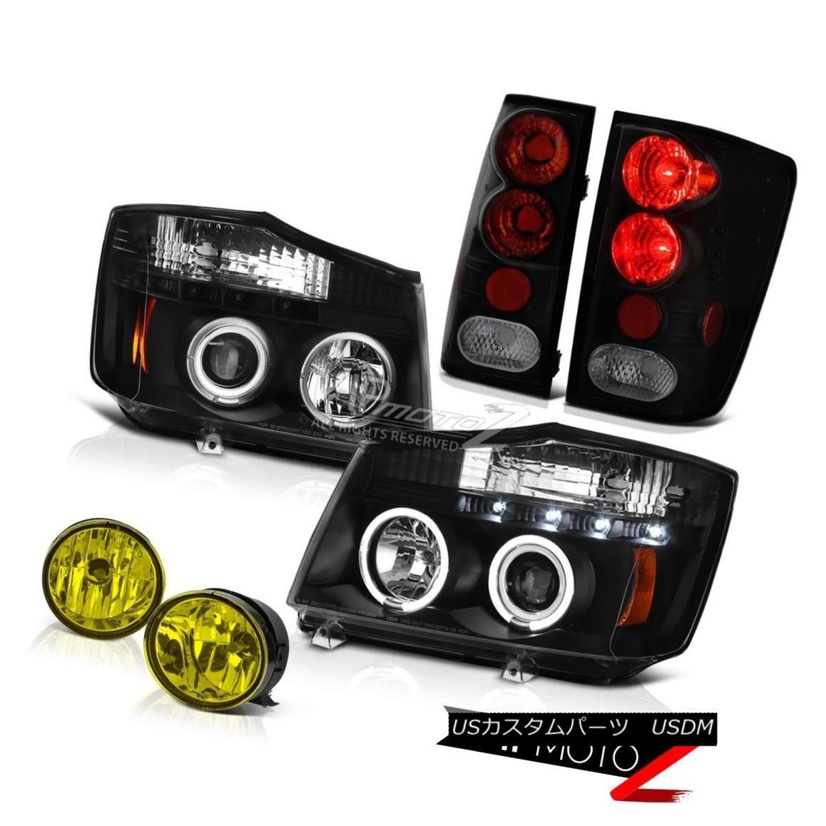 テールライト For 2004-2015 Titan Pro-4X Black LED Headlight Darkest Tail Light Bumper Fog 2004年?2015年Titan Pro-4XブラックLEDヘッドライトダークテールライトバンパーフォグ