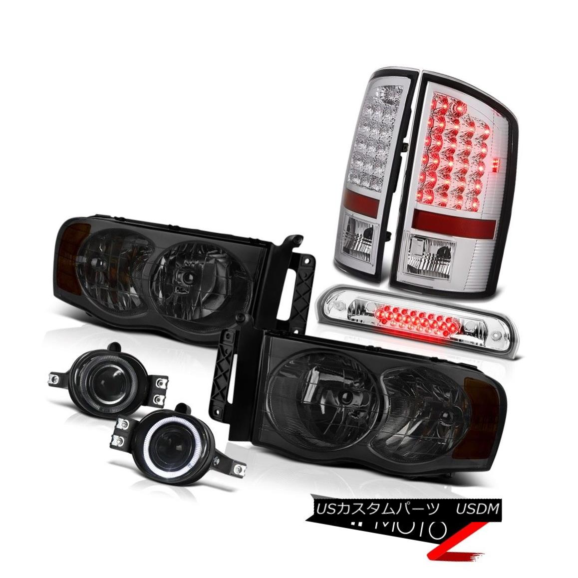 テールライト 02-05 Ram PowerTech PAIR Smoke Headlights LED Tail Lights Bumper Fog Brake Cargo 02-05 Ram PowerTech PAIRスモークヘッドライトLEDテールライトバンパーフォグブレーキカーゴ