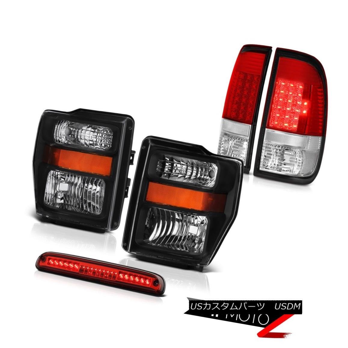 テールライト 2008-2010 F350 6.8L Jet Black Headlights LED Signal Taillamps Wine Red 3rd Brake 2008-2010 F350 6.8LジェットブラックヘッドライトLEDシグナルタイヤルンプワインレッド第3ブレーキ