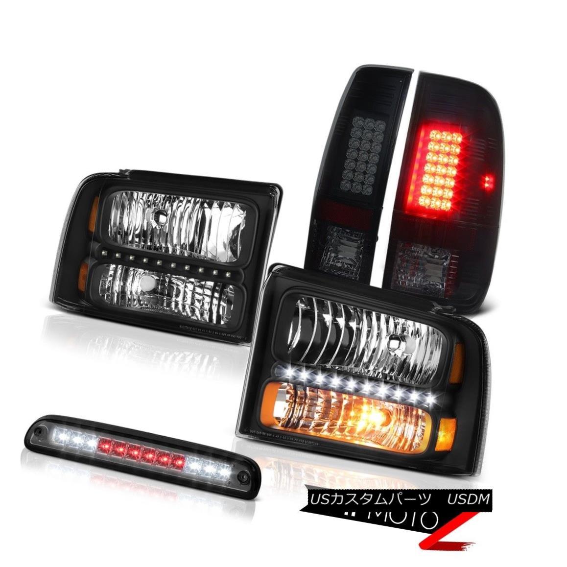 テールライト 05 06 07 F350 Lariat Black Headlamps Sinister LED Tail Lights High Brake Cargo 05 06 07 F350ラリアット・ブラックヘッドランプ不快なLEDテール・ライトハイ・ブレーキ・カーゴ