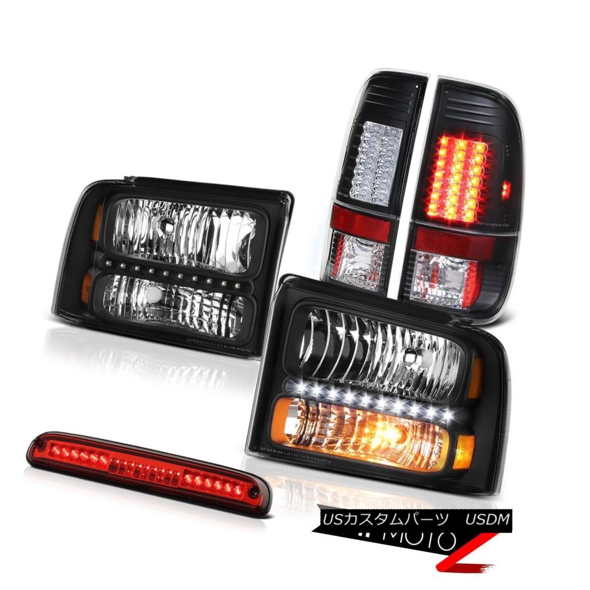 テールライト 2005 2006 2007 F250 XL Clear/Black Headlights Black Brake Tail Lights Roof Red 2005 2006 2007 F250 XLクリア/ブラックヘッドライトブラックブレーキテールライトルーフレッド