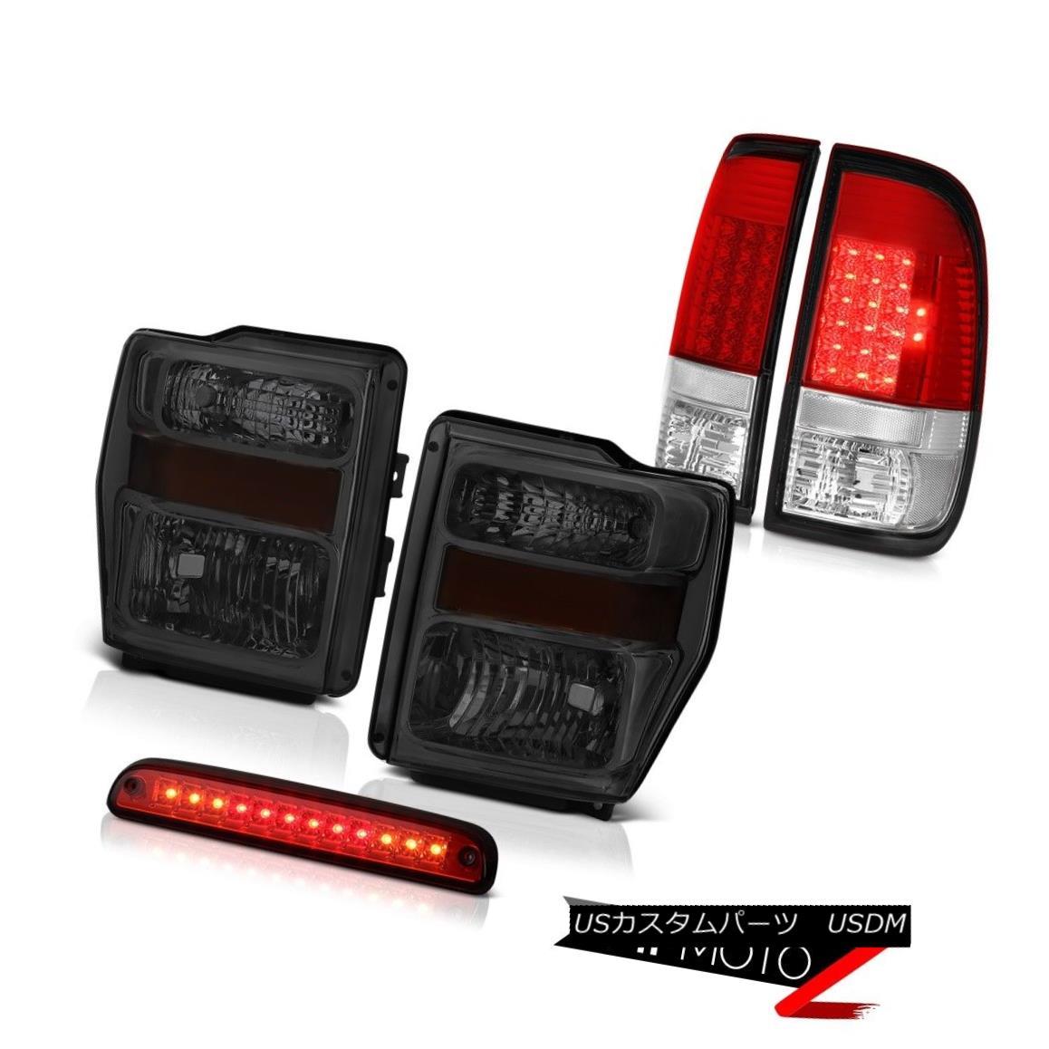 テールライト 2008-2010 Ford F-350 XLT Dark Smoke Headlamp Rosso Red LED Tail Light Roof Brake 2008-2010フォードF-350 XLTダークスモークヘッドランプロッソレッドテールライトルーフブレーキ