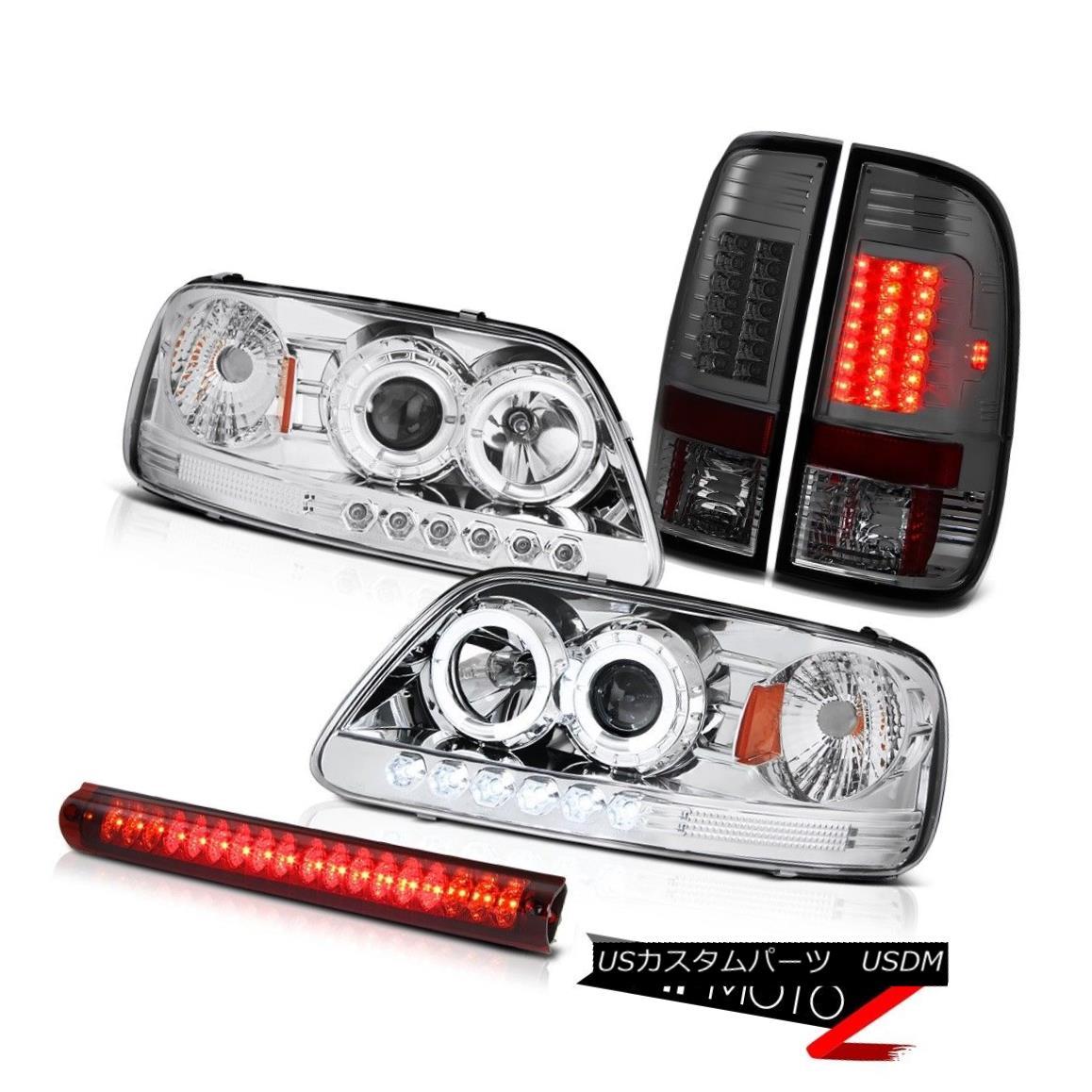 テールライト Halo LED Headlight Headlamp Smoked Tail Light Roof Stop Lamp Red 97-03 Ford F150 Halo LEDヘッドライトヘッドランプスモークテールライトルーフストップランプレッド97-03 Ford F150
