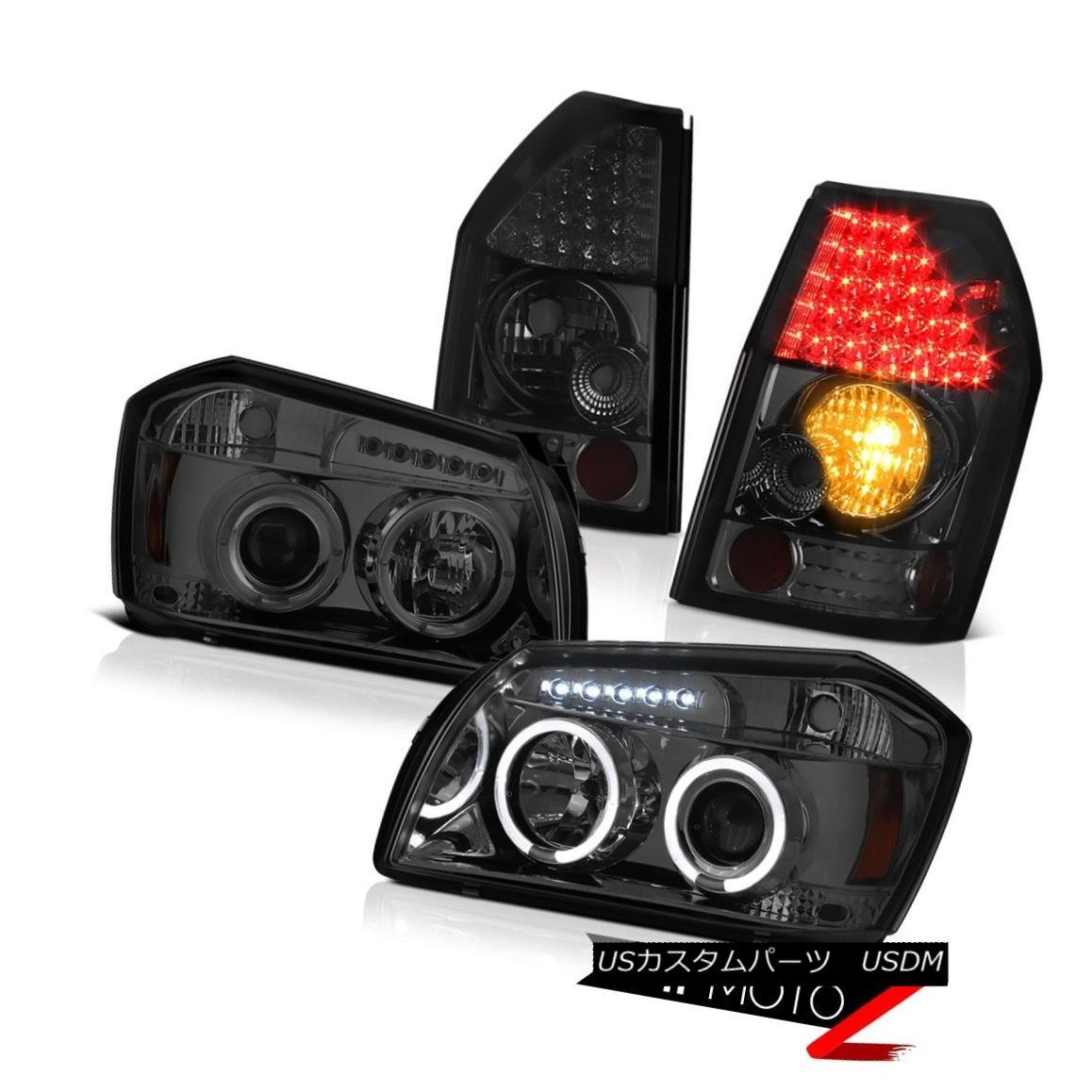 テールライト 05 06 07 Dodge Magnum Rt Smoked Tail Brake Lights Projector Headlights Halo Ring 05 06 07ダッジマグナムRtスモークテールブレーキライトプロジェクターヘッドライトハローリング