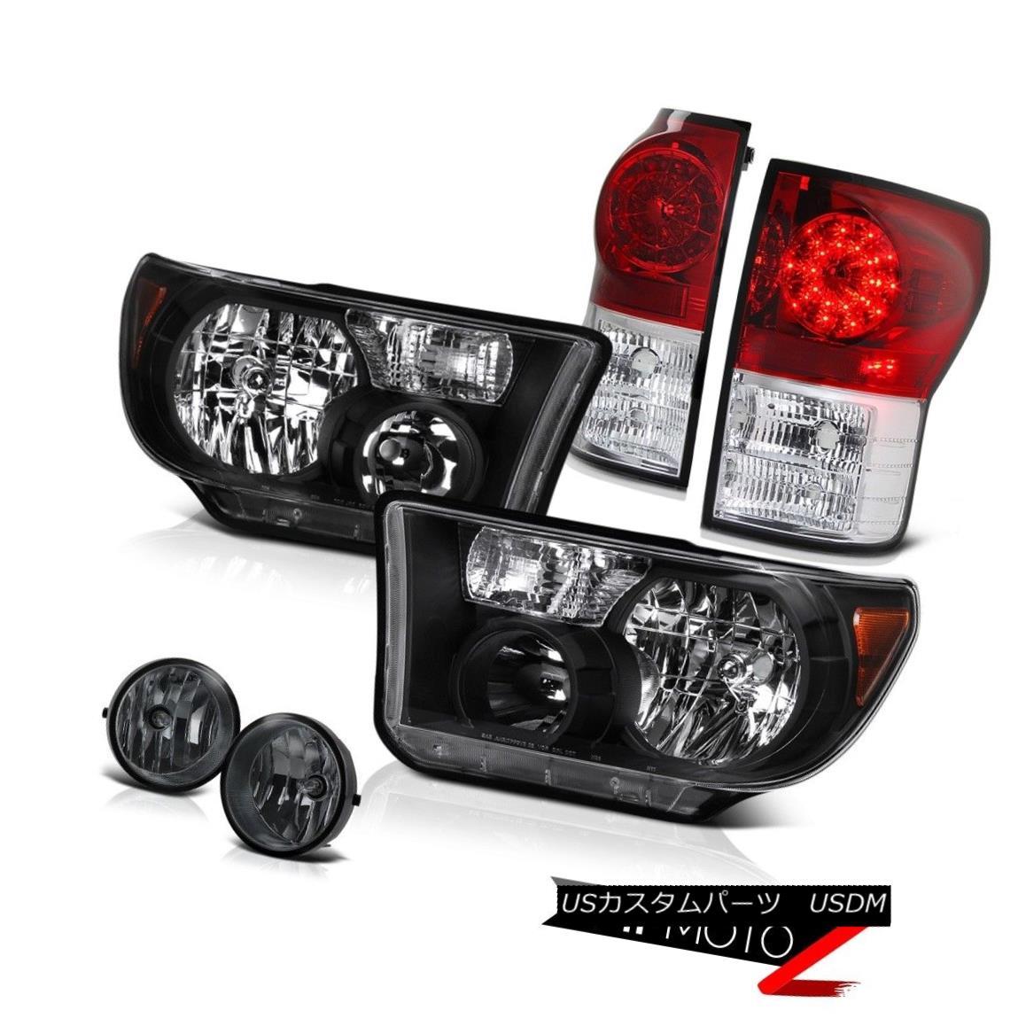テールライト 07-13 Toyota Tundra SR5 Truck Black L+R Headlight+Led Tail Light+Smoke Fog Lamp 07-13トヨタトンドラSR5トラックブラックL + Rヘッドライト+ Ledテールライト+スモークフォグランプ