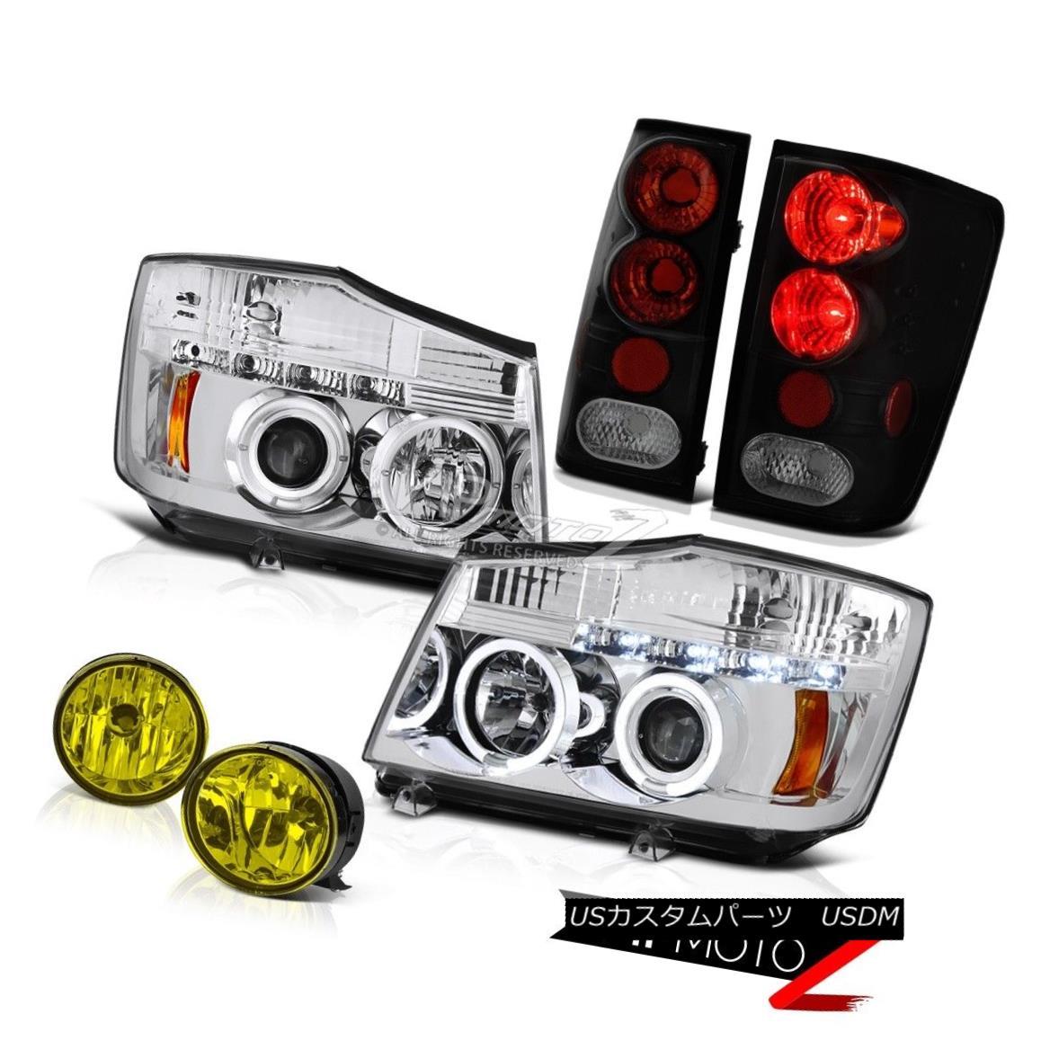 テールライト For 04-15 Titan XE Clear Halo Rim Headlight Smoke Tail Light Yellow Driving Fog 04-15タイタンXEクリアヘリオリムヘッドライトスモークテールライトイエロードライビングフォグ