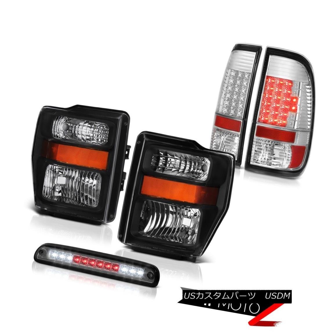テールライト 08 09 10 F350 Power Stroke V8 Pair Black Headlights Brake Tail Lights High LED 08 09 10 F350パワーストロークV8ペアブラックヘッドライトブレーキテールライトHigh LED