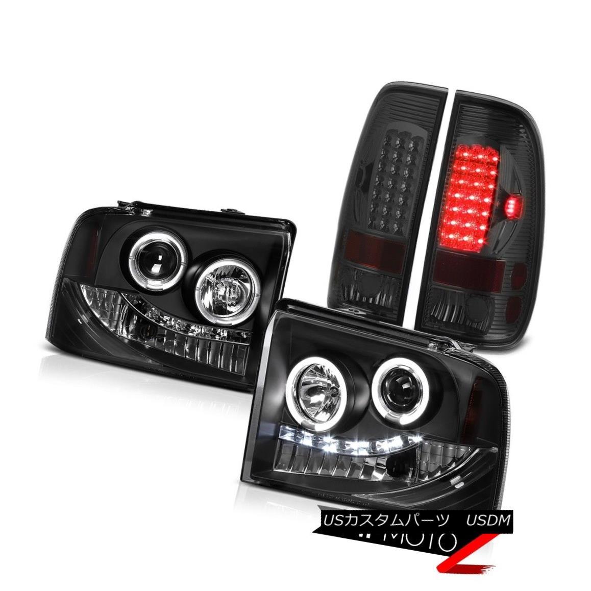 テールライト 2X Angel Eye DRL Projector Headlight Smoke Tail Light LED Ford F250 XL 2005-2007 2XエンジェルアイDRLプロジェクターヘッドライト煙テールライトLED Ford F250 XL 2005-2007