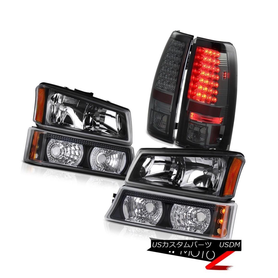 テールライト Black Headlamps Signal Bumper Lights 2003-2006 Silverado 5.3L V8 Brake Tail Lamp ブラックヘッドランプ信号バンパーライト2003-2006 Silverado 5.3L V8ブレーキテールランプ