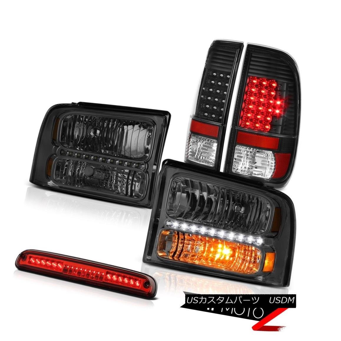 テールライト 05 06 07 F250 FX4 Dark Smoke Headlights Black LED Tail Lamps High Brake Cargo 05 06 07 F250 FX4ダークグレーヘッドライトブラックLEDテールランプハイブレーキカーゴ