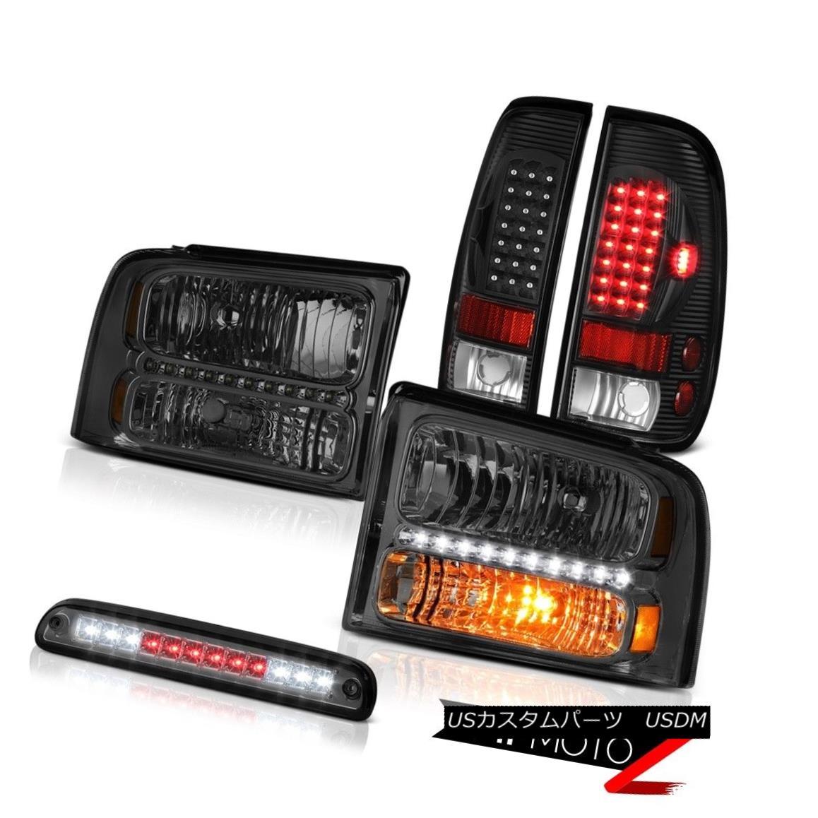 テールライト 2005 06 07 F350 Amarillo Tinted Headlights Black LED Tail Lights 3rd Brake Smoke 2005 06 07 F350アマリロティンテッドヘッドライトブラックLEDテールライト3rdブレーキスモーク