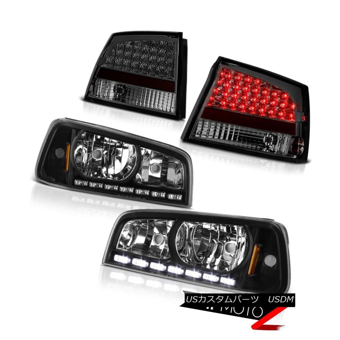 テールライト 09-10 Charger SE [Black] Angel Eye Halos LED Headlights Bulbs Smoke Tail Lights 09-10チャージャーSE [ブラック]エンジェルアイハロスLEDヘッドライト電球煙テールライト