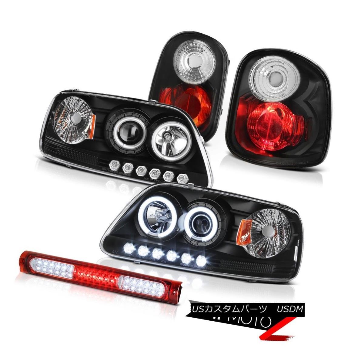 テールライト 01-03 F150 Flareside DRL CCFL Rim Headlight Signal Tail Light Black Stop LED Red 01-03 F150 Flareside DRL CCFLリムヘッドライト信号テールライトブラックストップLEDレッド