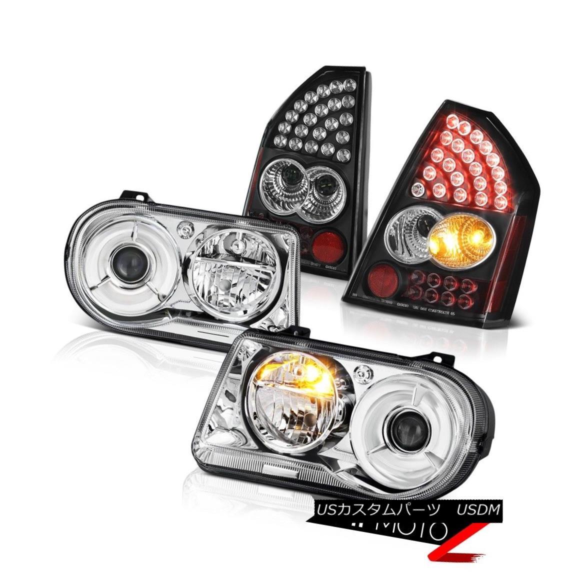 テールライト Pair Chrome Headlights Clear Headlamps Bright Tail Lights 05 06 07 Chrysler 300C ペアクロームヘッドライトクリアヘッドランプブライトテールライト05 06 07クライスラー300C
