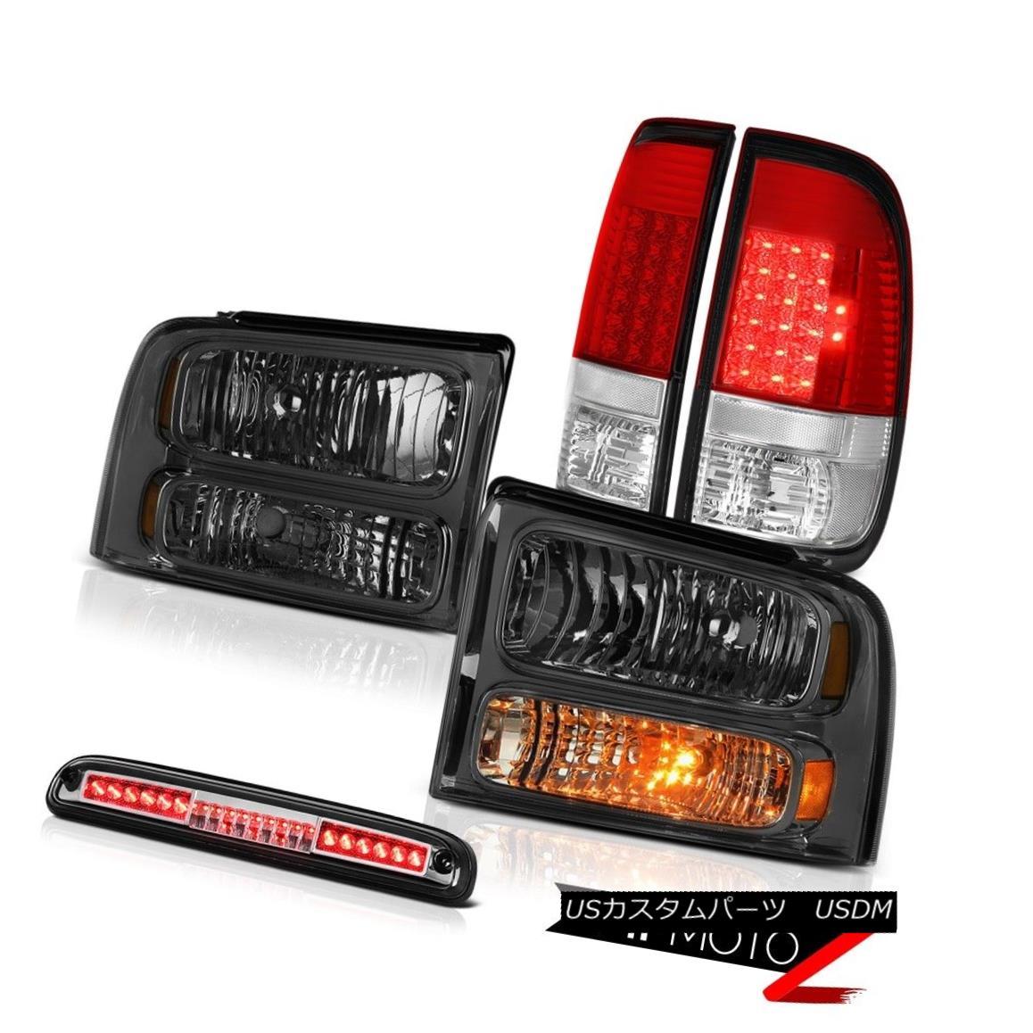 テールライト 2005 2006 2007 F350 SD XLT Pair Smoke Headlamps LED Taillamps Chrome Roof Brake 2005年2006年2007年F350 SD XLTペアスモークヘッドランプLEDタイルランプクローム屋根ブレーキ
