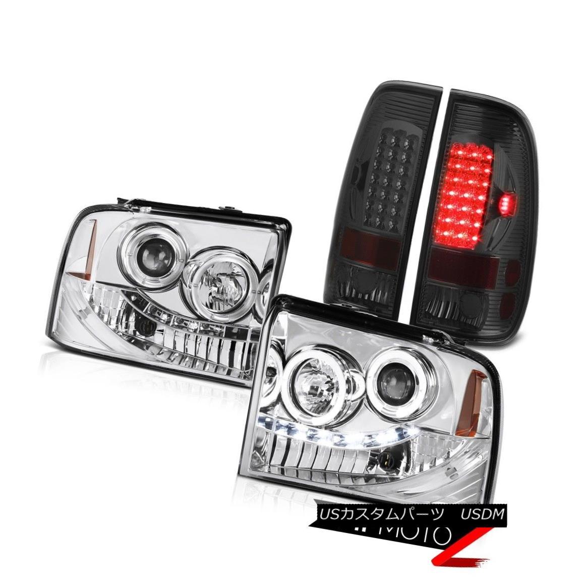 テールライト Twin Halo LED Headlamps Signal Brake Tail Lights Ford F350 TurboDiesel XLT 05-07 ツインハローLEDヘッドランプ信号ブレーキテールライトフォードF350ターボディーゼルXLT 05-07