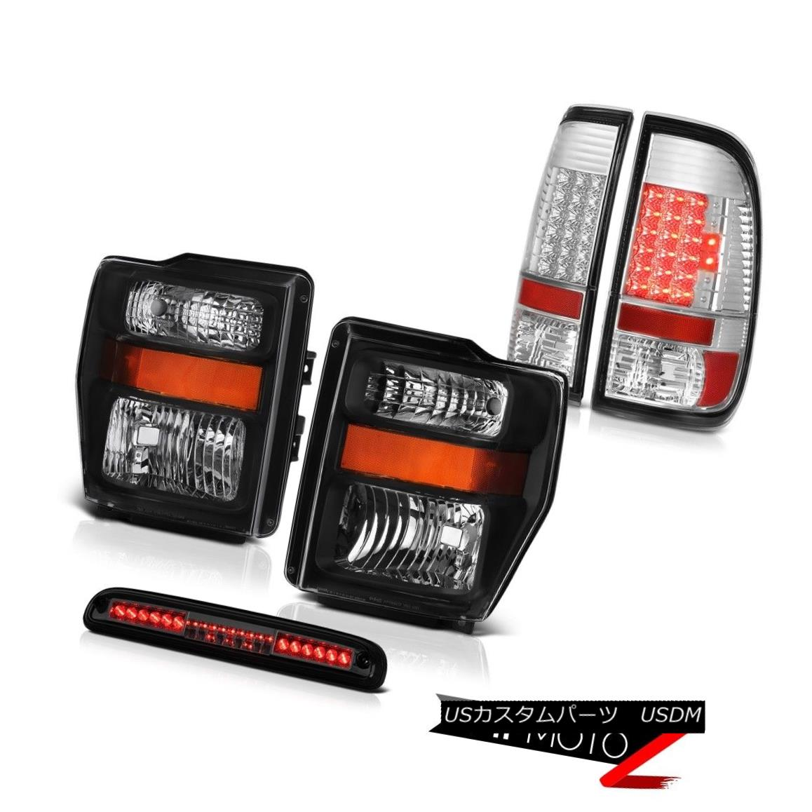 テールライト 08-10 F350 King Ranch Black Headlamps Bright LED Tail Lights Smoke Third Brake 08-10 F350キングランチブラックヘッドランプブライトLEDテールライトスモークサードブレーキ