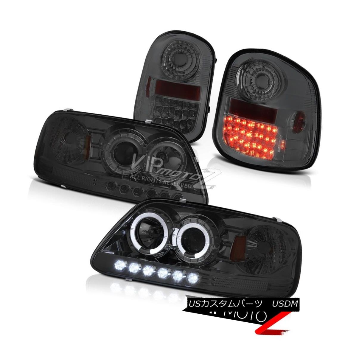 テールライト Angel Eye Headlamps L+R Tail Lights LED Tinted 1997-2003 Ford F150 Flareside XLT エンジェルアイヘッドランプL + RテールライトLEDテイスト1997-2003 Ford F150 Flareside XLT